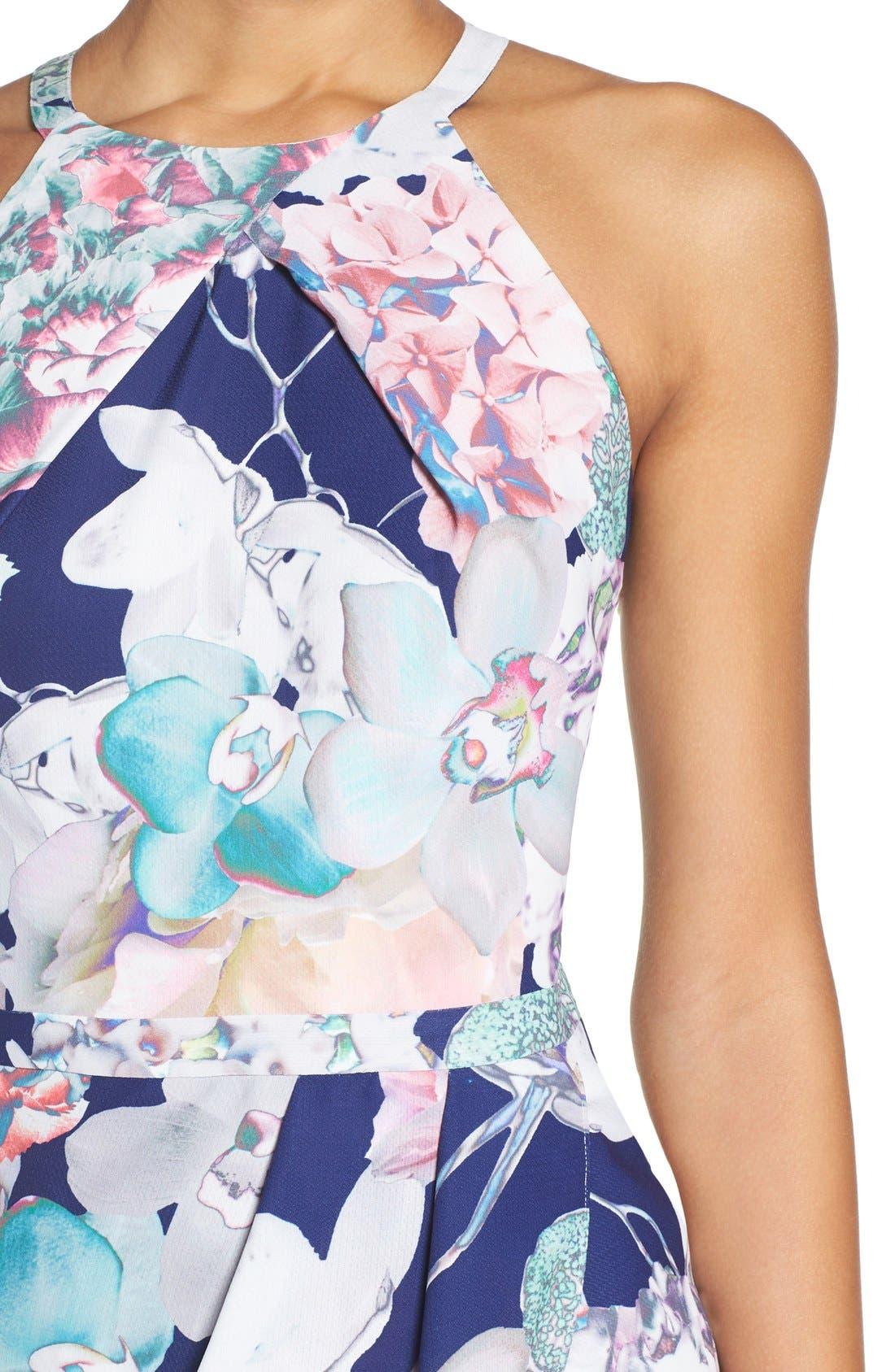 Floral Faux Wrap Dress,                             Alternate thumbnail 6, color,                             410