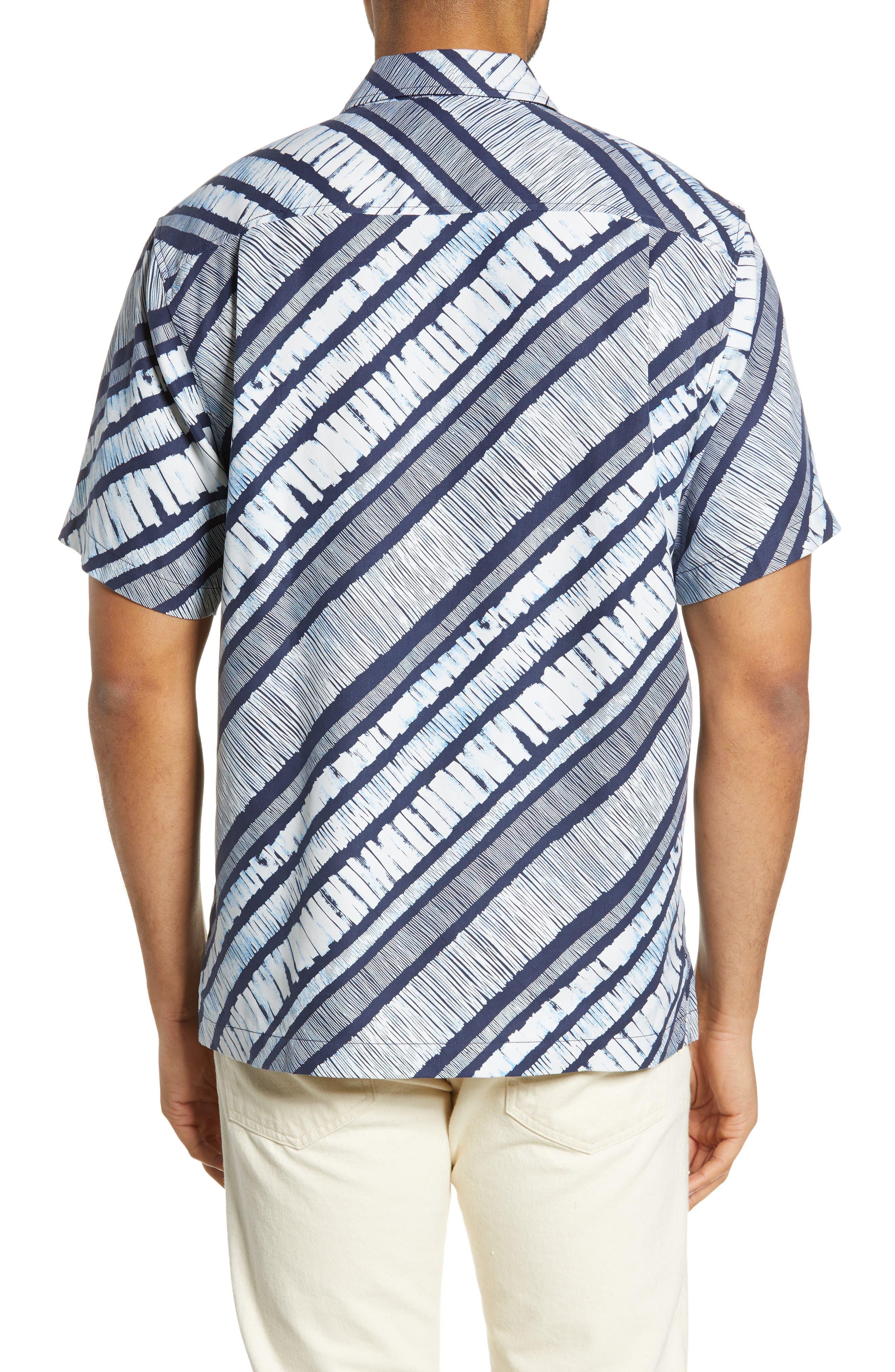 North Shore Winds Classic Fit Silk Camp Shirt,                             Alternate thumbnail 3, color,                             OCEAN DEEP