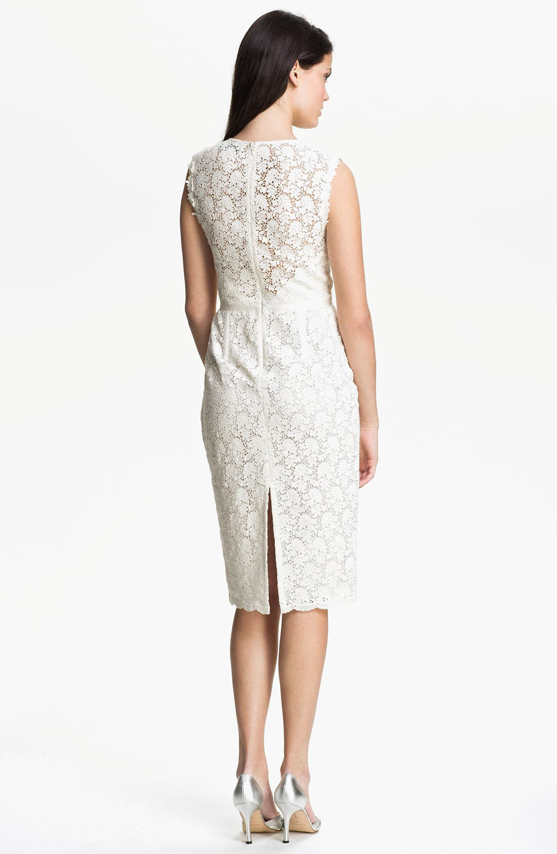 Illusion Yoke Lace Sheath Dress,                             Alternate thumbnail 4, color,