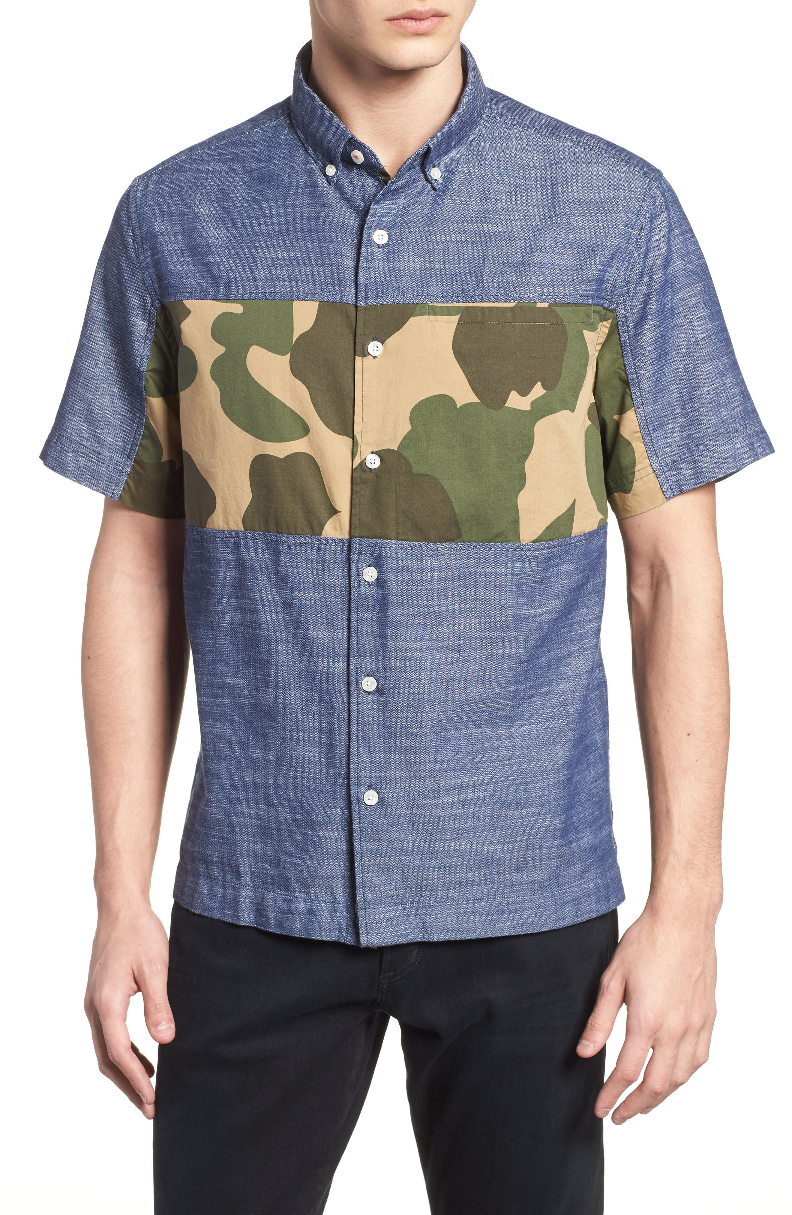 Pieced Camo Shirt,                         Main,                         color, DARK SAPPHIRE