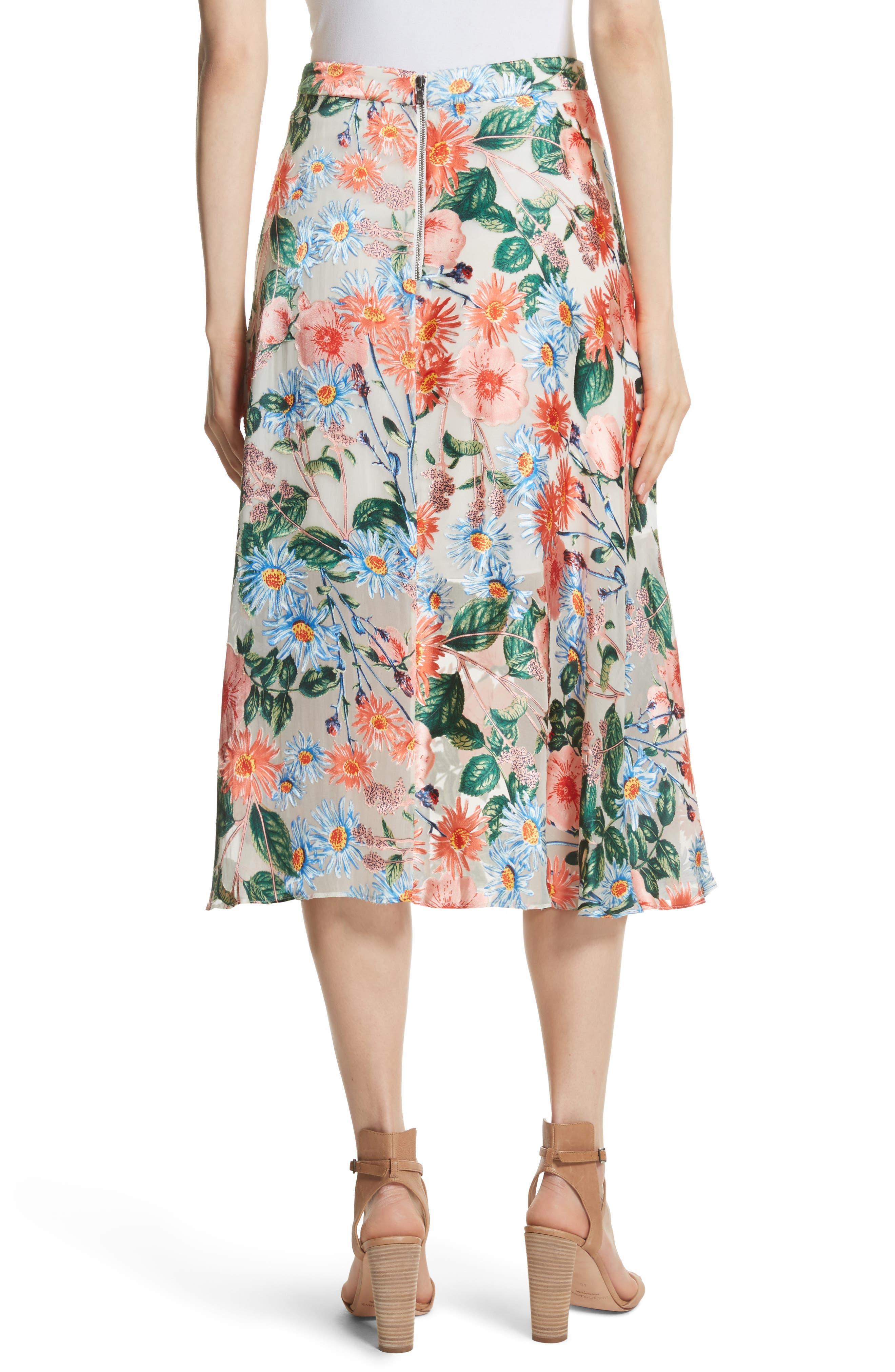 Nanette Floral Faux Wrap Skirt,                             Alternate thumbnail 2, color,                             470
