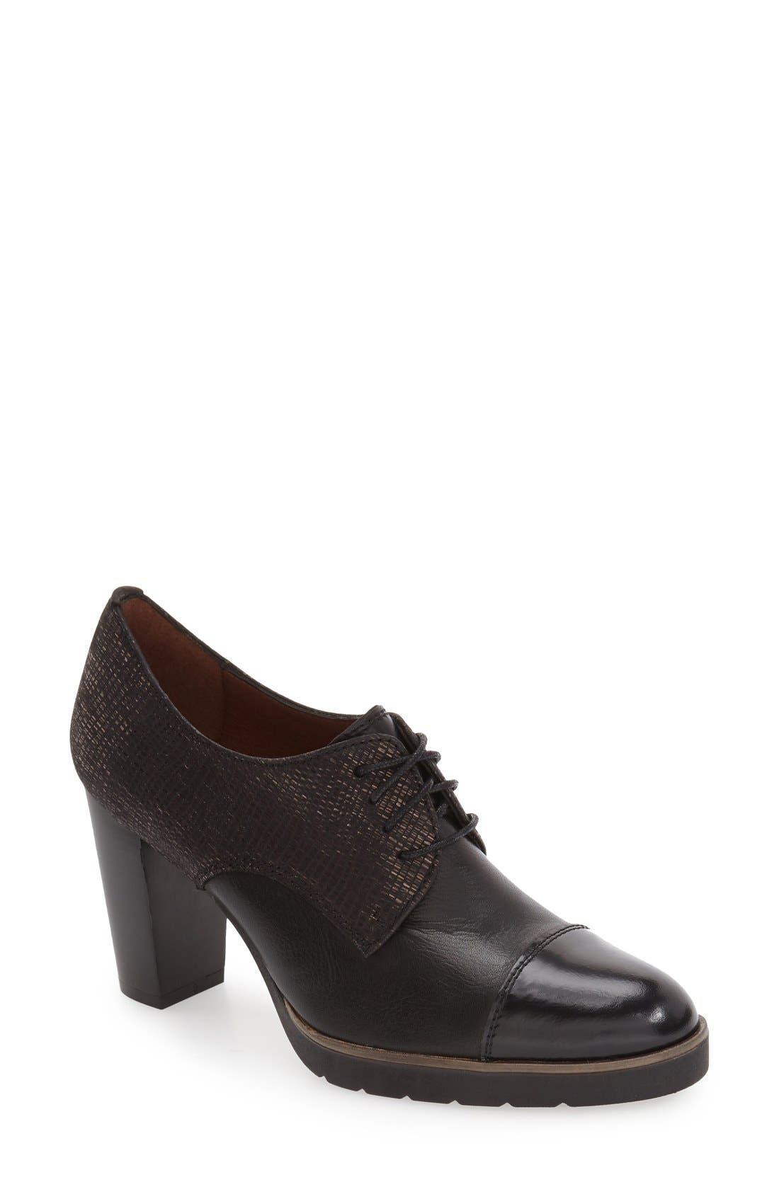 'Viv' Cap Toe Pump,                             Main thumbnail 1, color,                             BLACK LEATHER