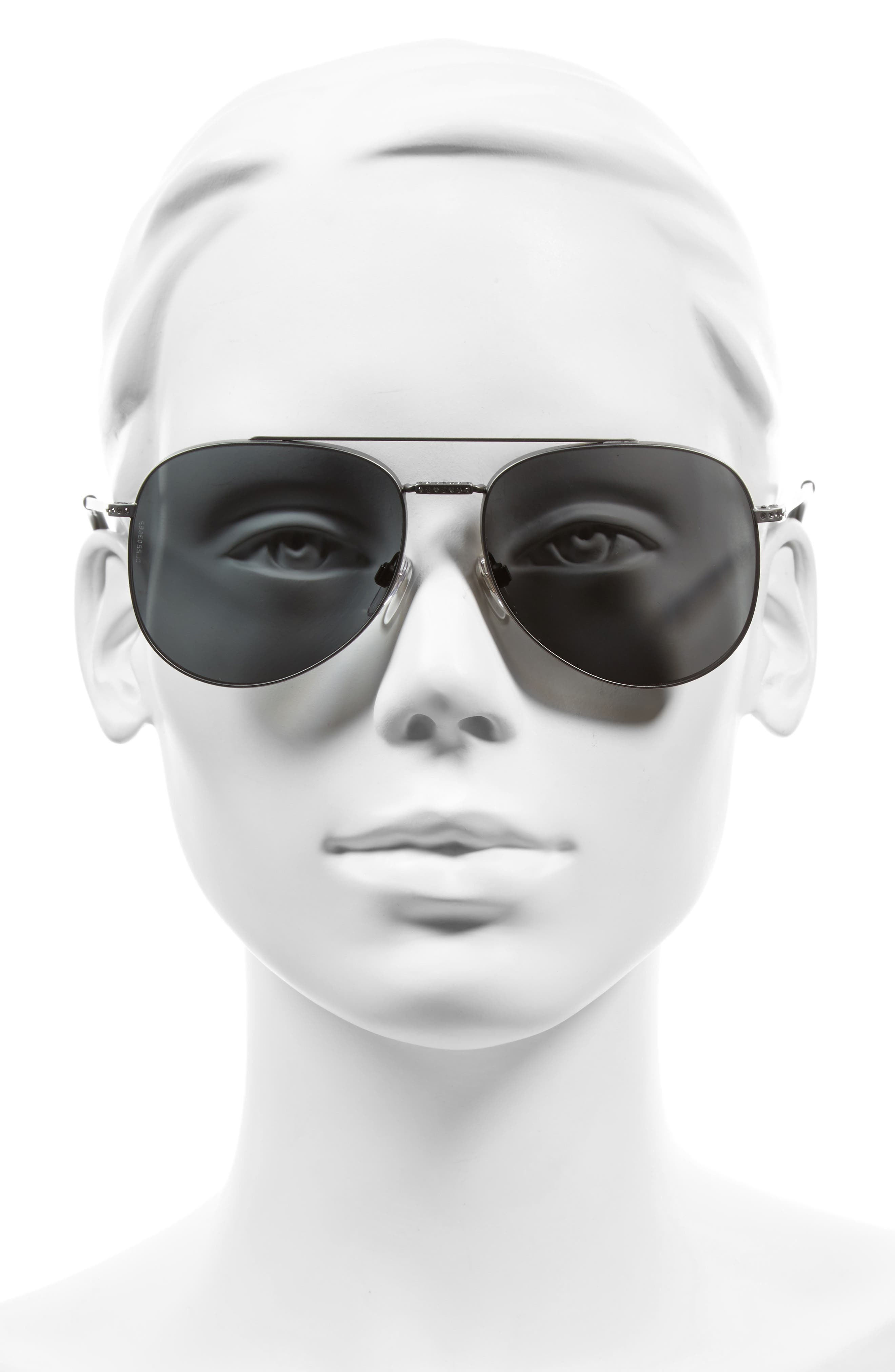 56mm Aviator Sunglasses,                             Alternate thumbnail 2, color,                             MATTE RUTHENIUM/ GREY CRYSTAL