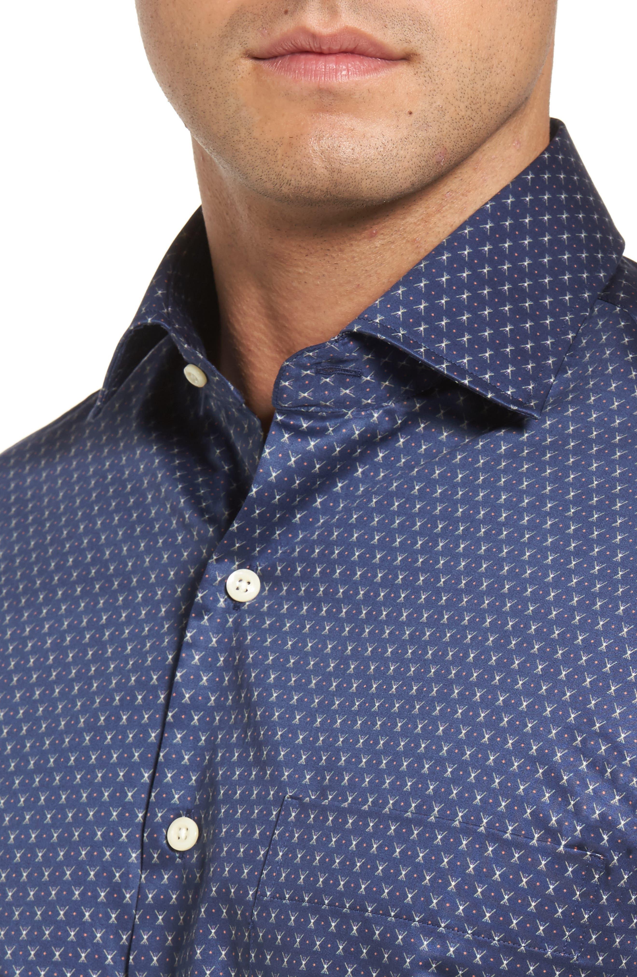 Cross Country Regular Fit Print Sport Shirt,                             Alternate thumbnail 4, color,                             424