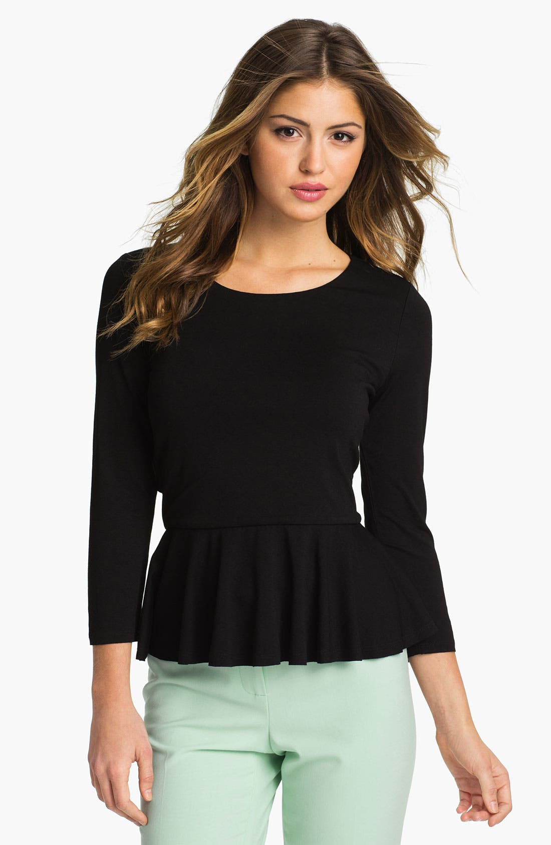 Three Quarter Sleeve Peplum Top,                         Main,                         color, 001
