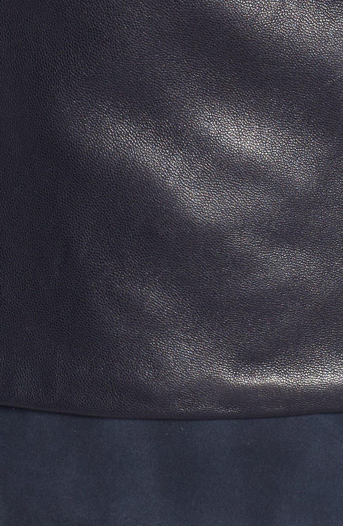 Mixed Media Leather Moto Jacket,                             Alternate thumbnail 10, color,