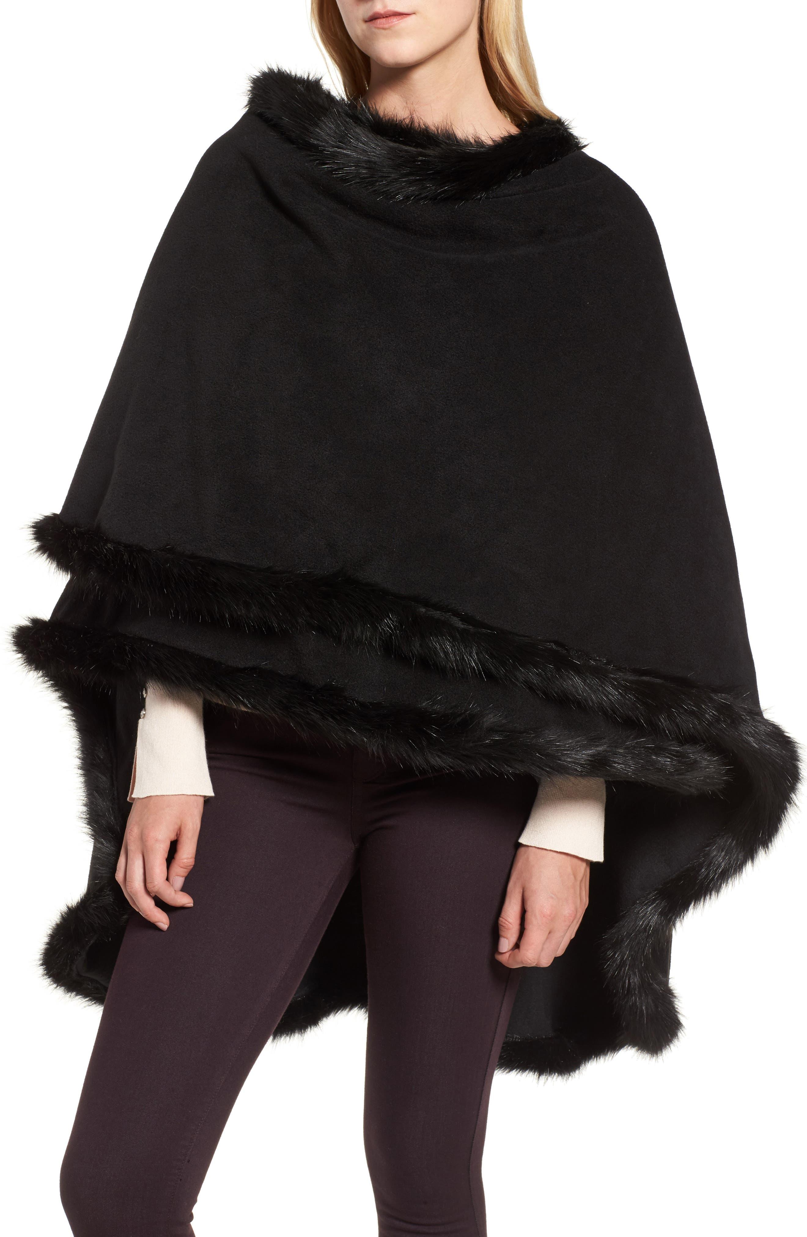 Tara Faux Fur Trim Wrap,                         Main,                         color, 001