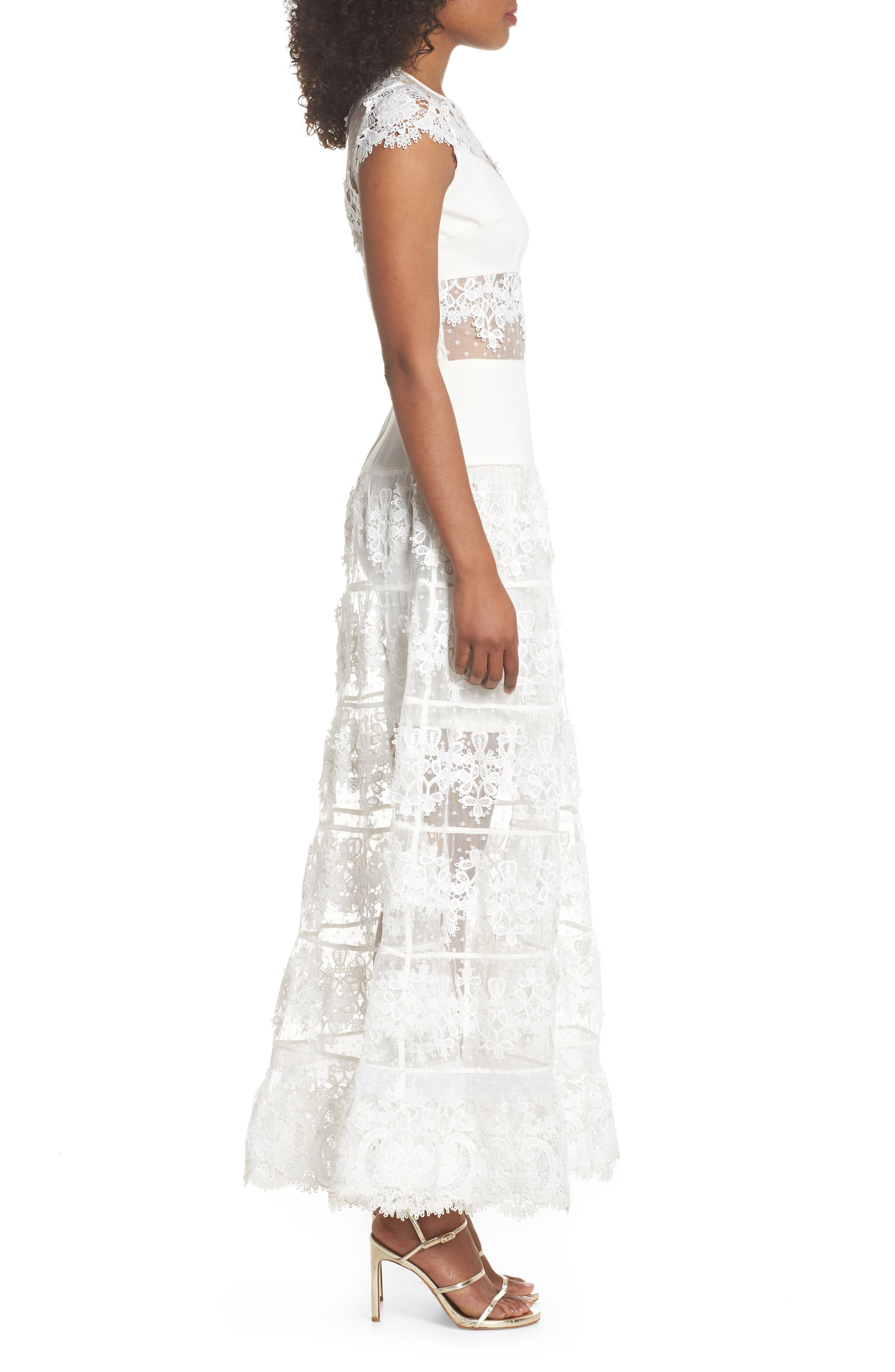 Flamenco Lace Inset Gown,                             Alternate thumbnail 3, color,                             WHITE