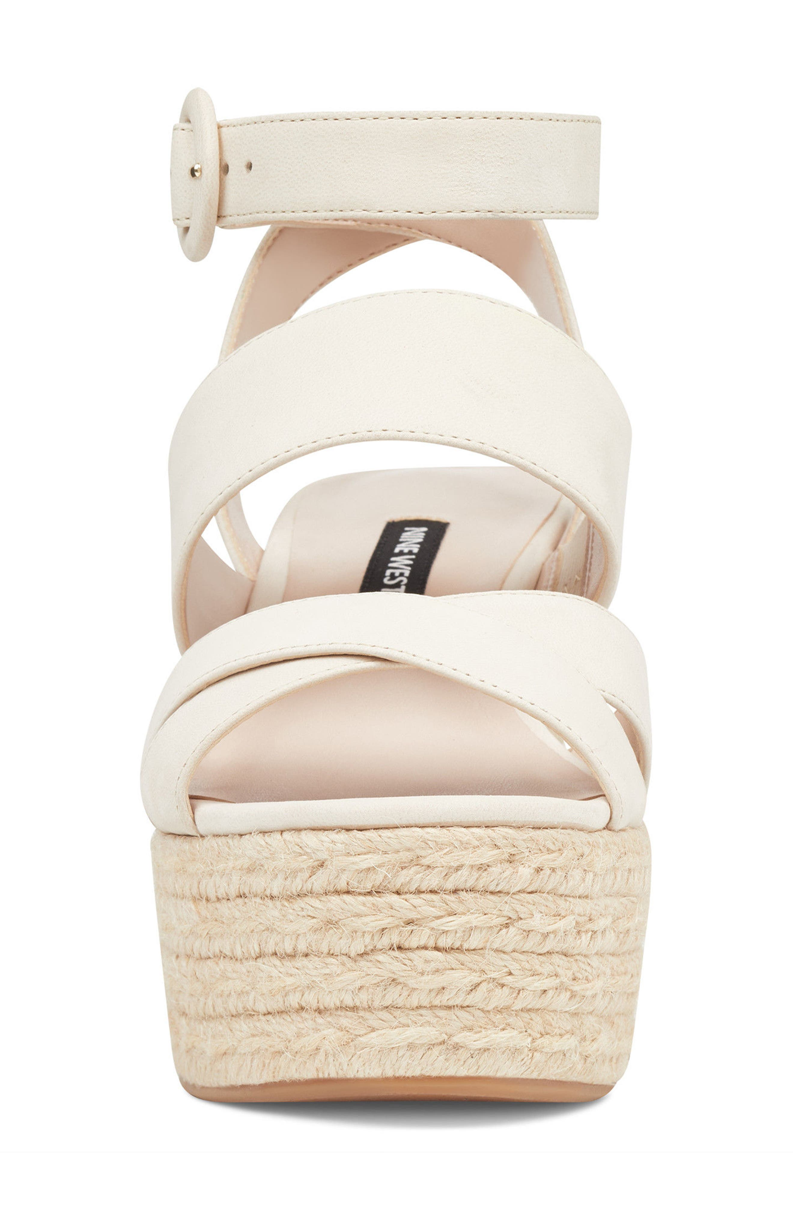 Kushala Espadrille Platform Wedge Sandal,                             Alternate thumbnail 4, color,                             OFF WHITE LEATHER