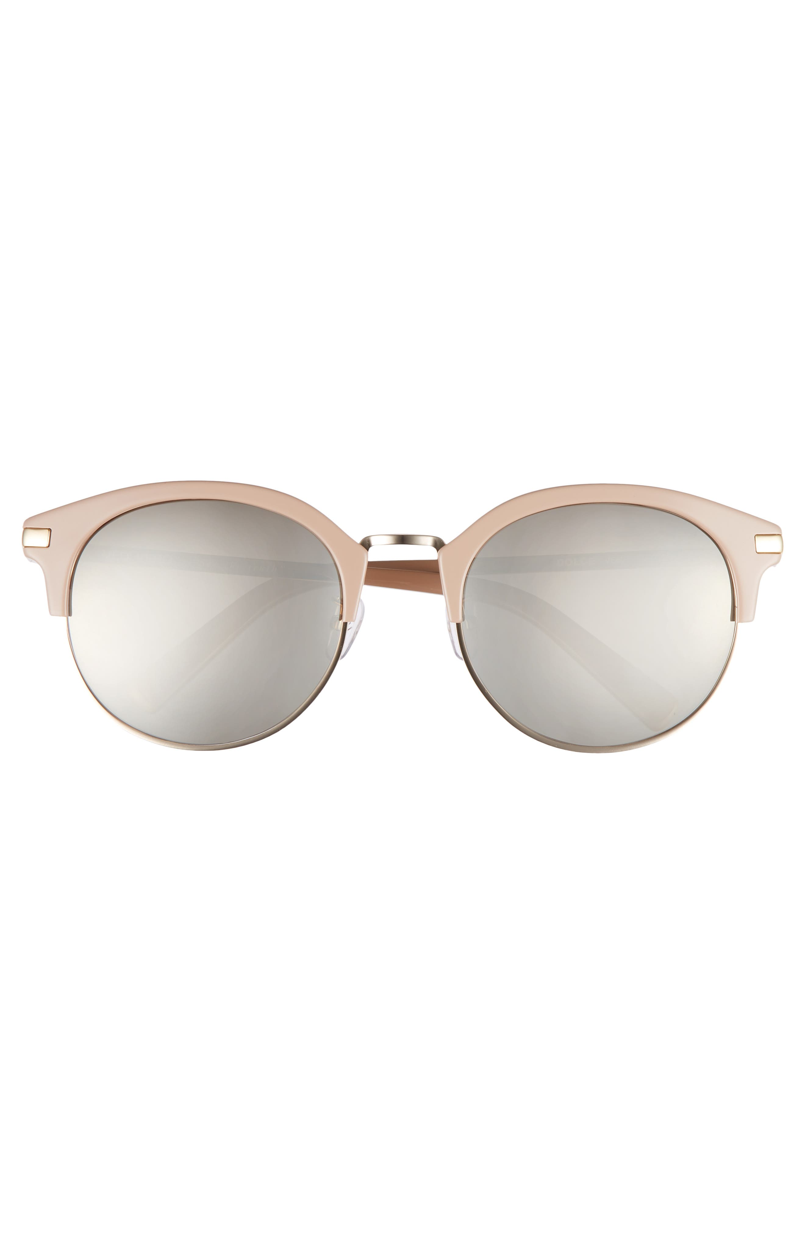 56mm Round Sunglasses,                             Alternate thumbnail 3, color,                             GOLD AND BEIGE/GRADIENT BROWN
