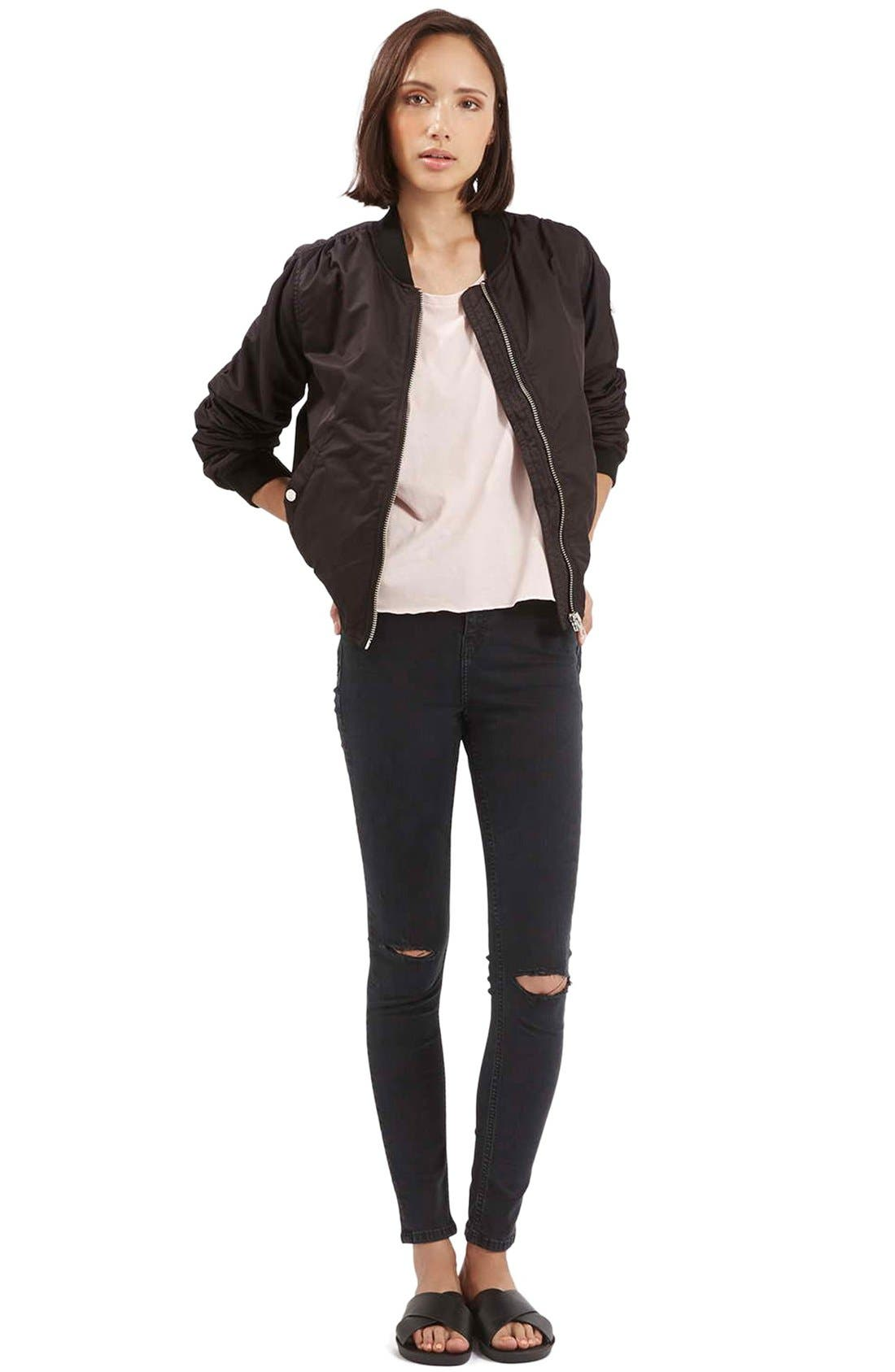 TOPSHOP,                             Moto 'Jamie' Ripped Skinny Jeans,                             Alternate thumbnail 3, color,                             001