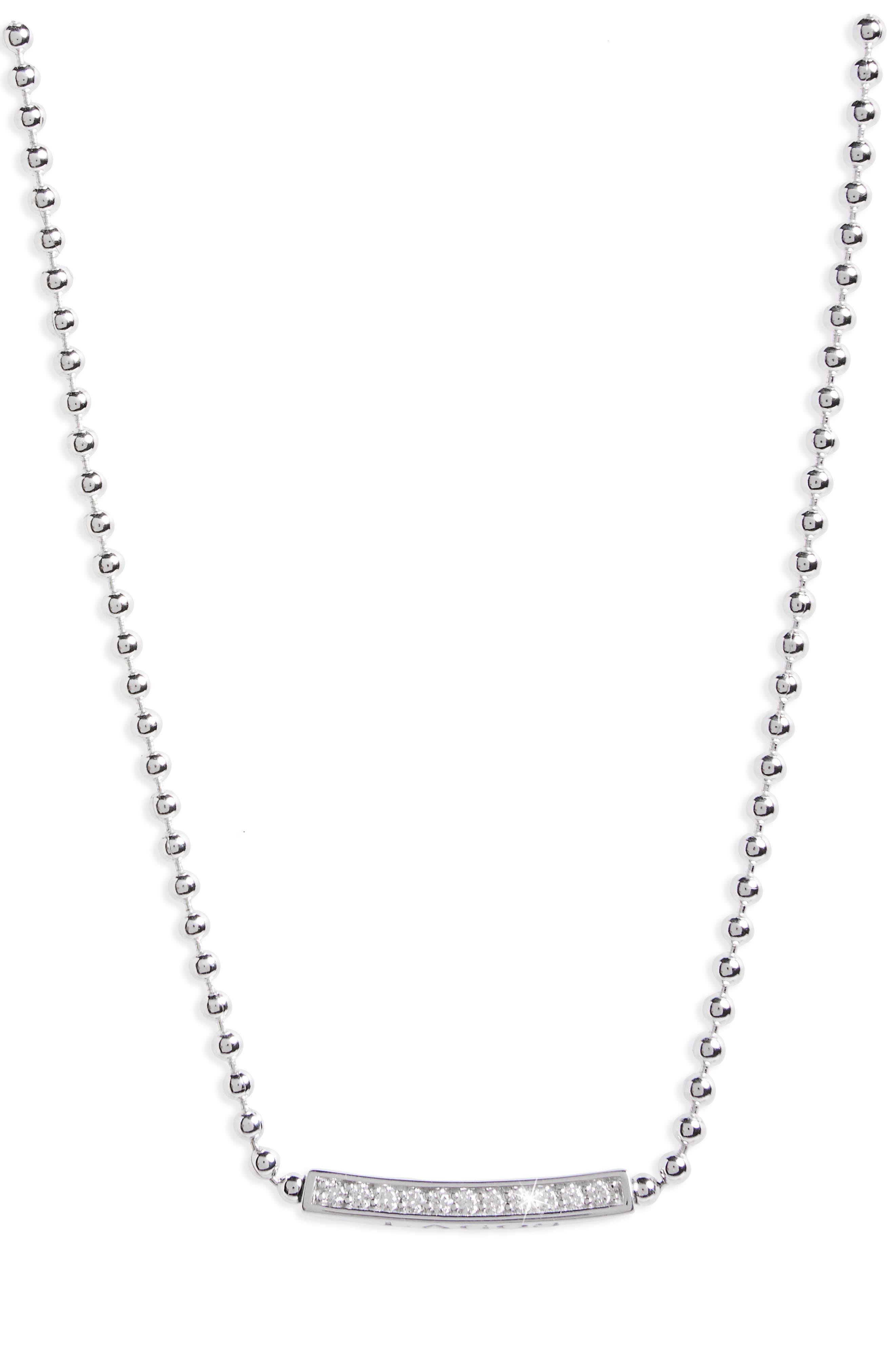 Caviar Spark Diamond Pendant Necklace,                             Main thumbnail 1, color,                             SILVER/ DIAMOND