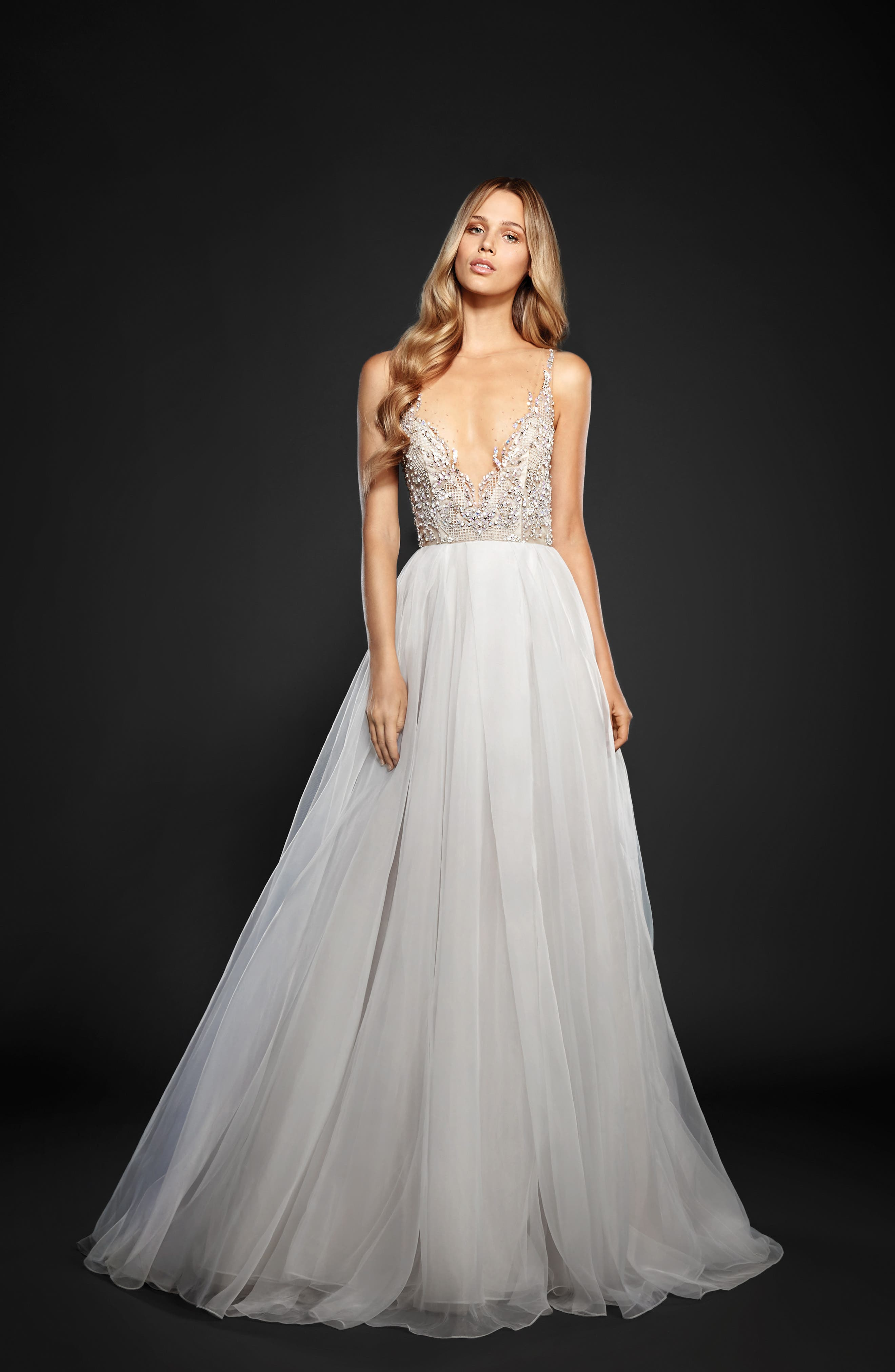 Kenny Organza A-Line Gown,                             Alternate thumbnail 3, color,                             MOONDUST
