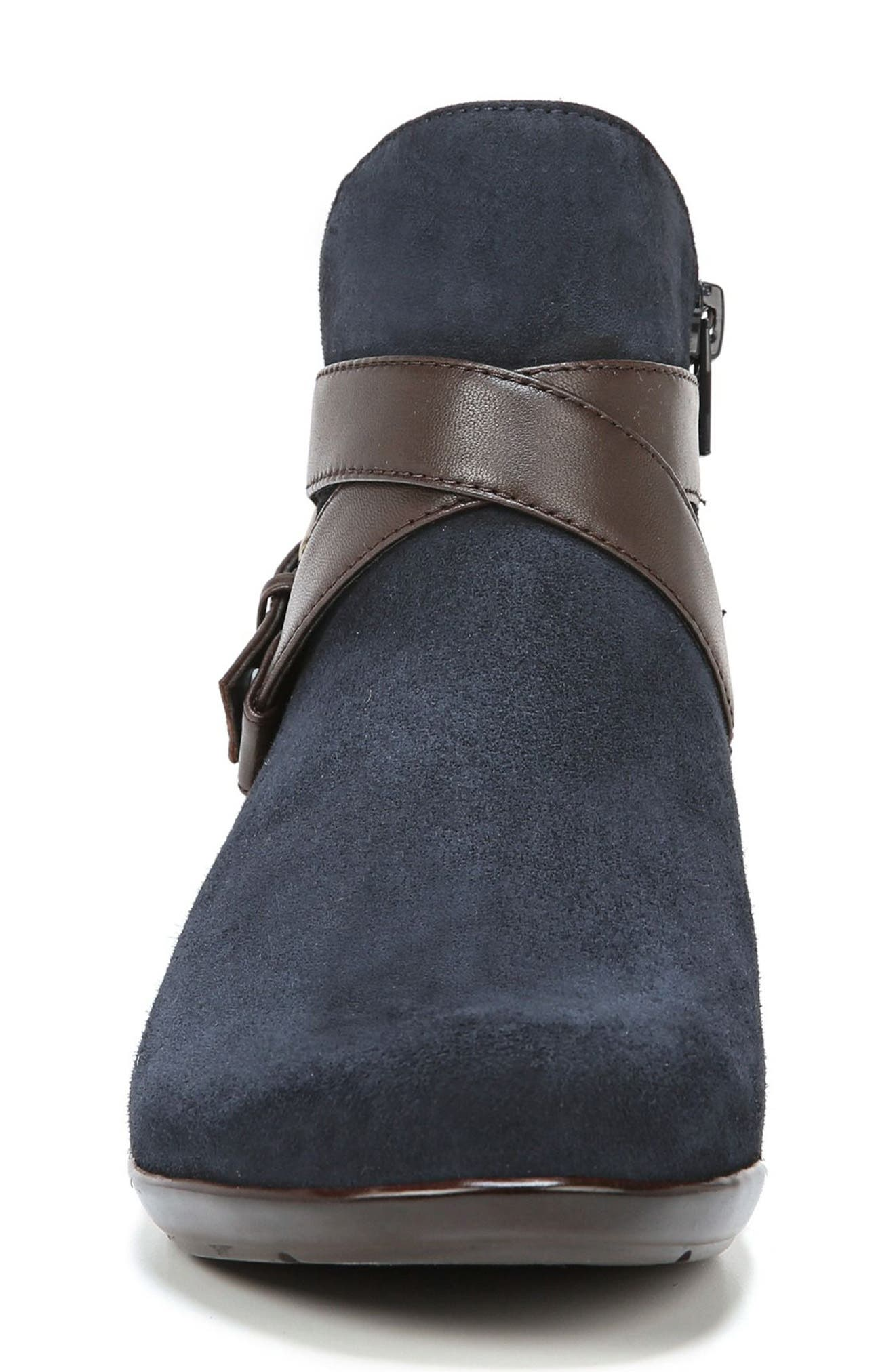 Cassandra Buckle Strap Bootie,                             Alternate thumbnail 4, color,                             NAVY/ BROWN SUEDE