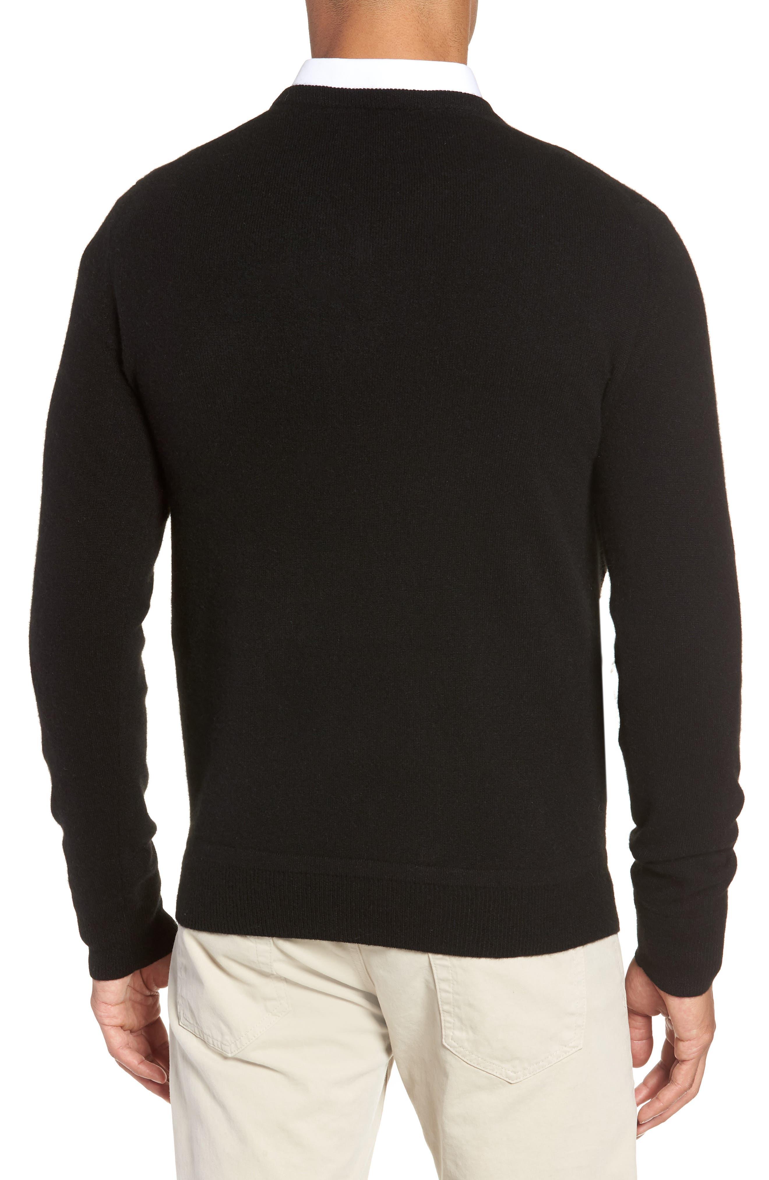 V-Neck Cashmere Sweater,                             Alternate thumbnail 2, color,                             BLACK JET