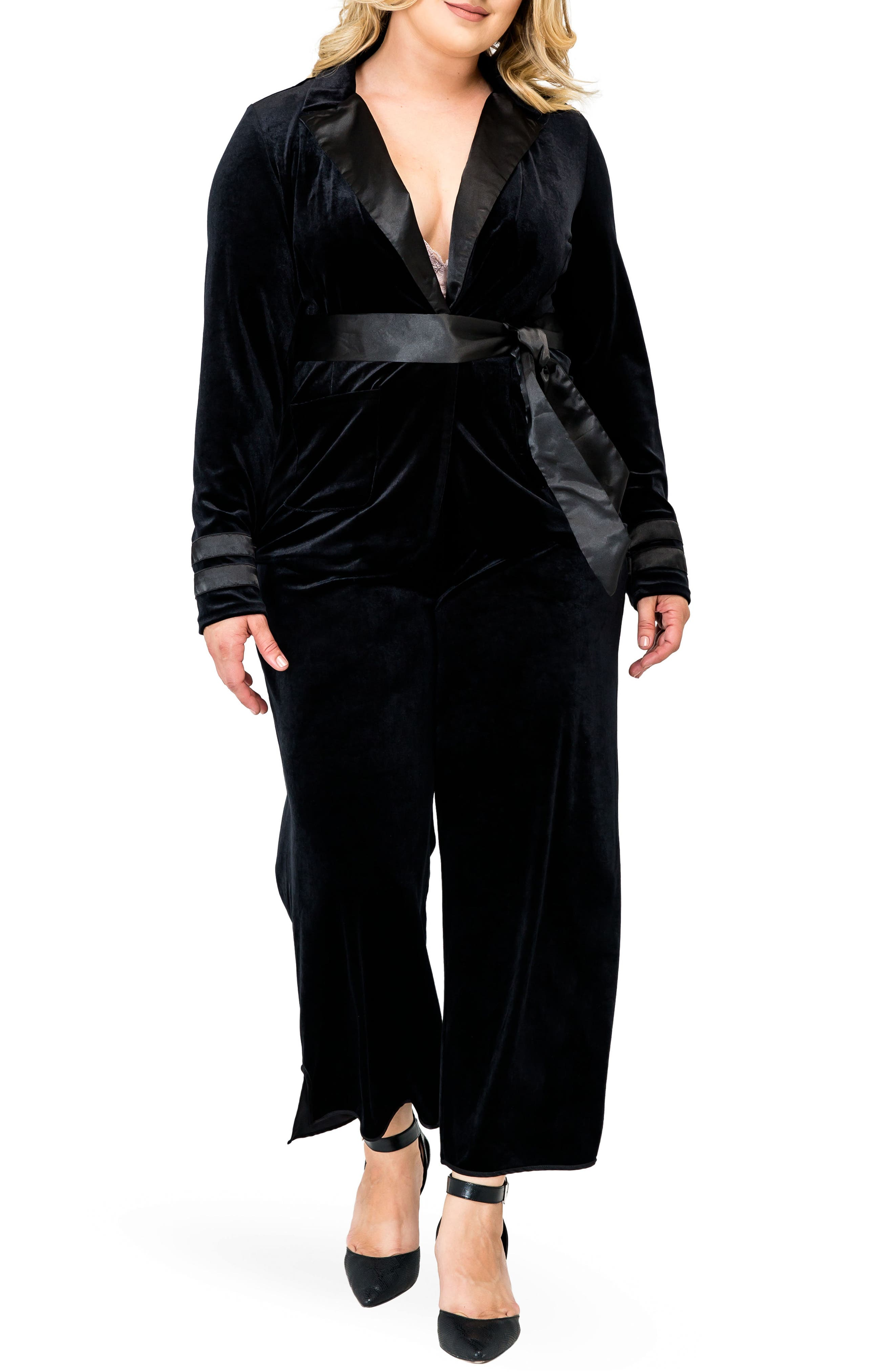 Lottie Velvet & Satin Jacket,                             Alternate thumbnail 3, color,                             BLACK