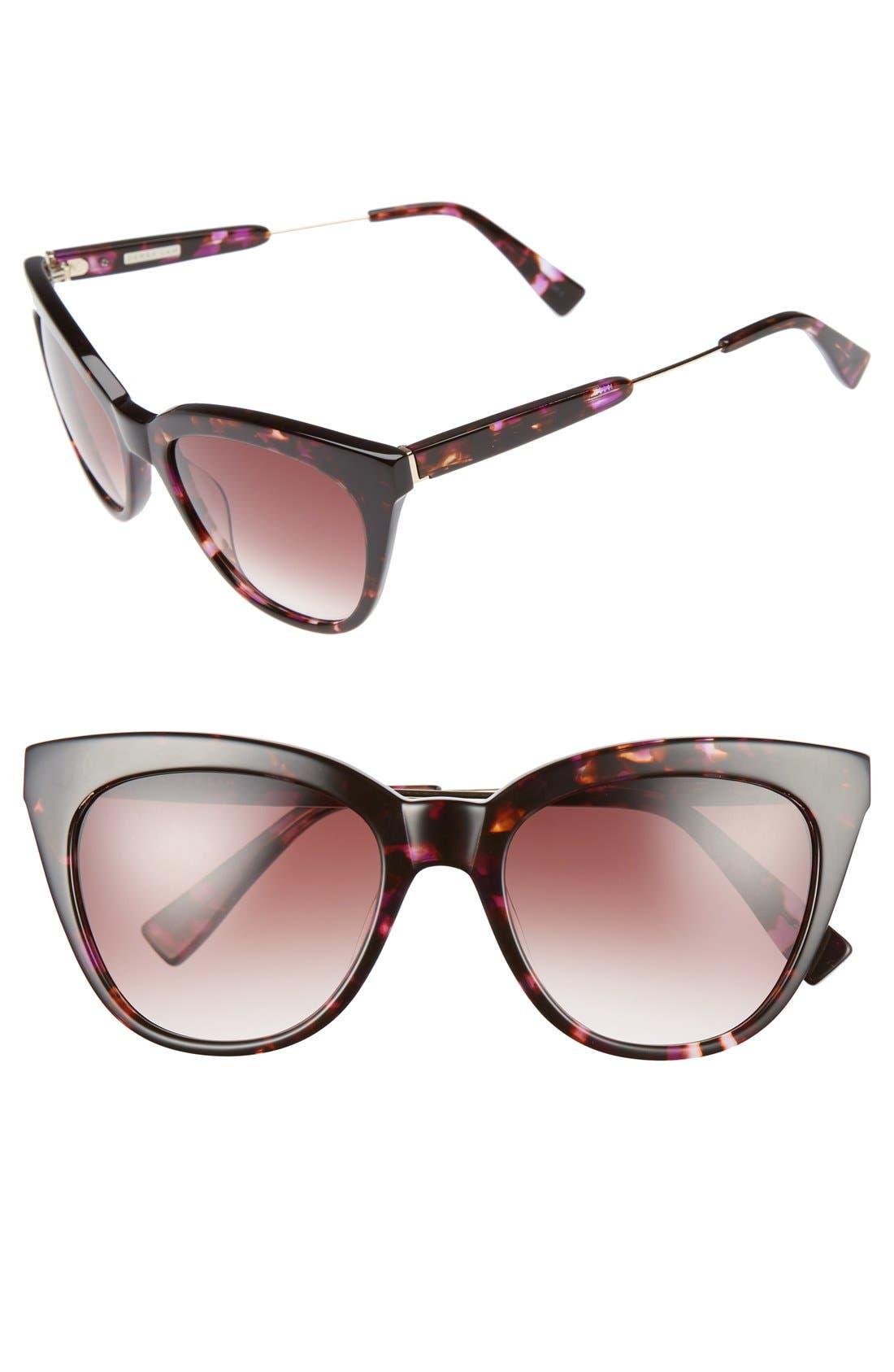 'Lenox' 53mm Cat Eye Sunglasses,                         Main,                         color, PURPLE TORTOISE
