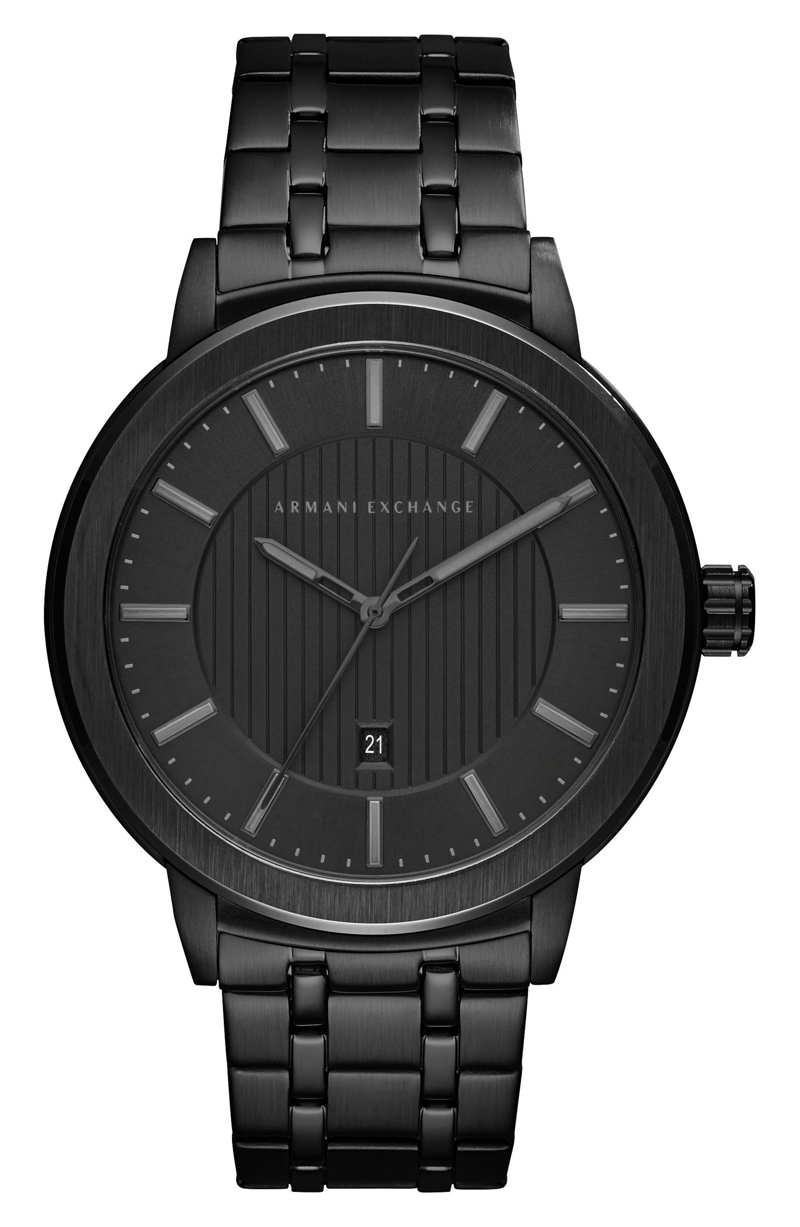 AX ARMANI EXCHANGE,                             Bracelet Strap Watch, 46mm,                             Main thumbnail 1, color,                             BLACK/ BLACK