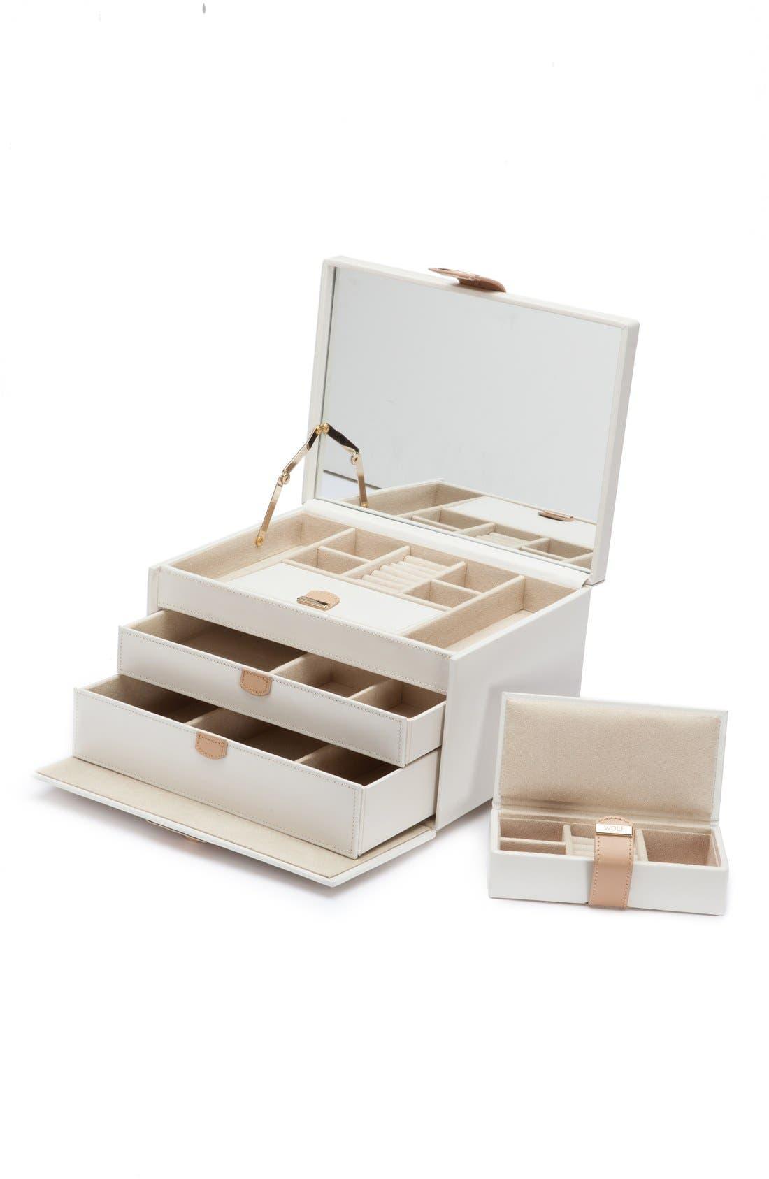 'Chloe' Jewelry Box,                         Main,                         color, CREAM