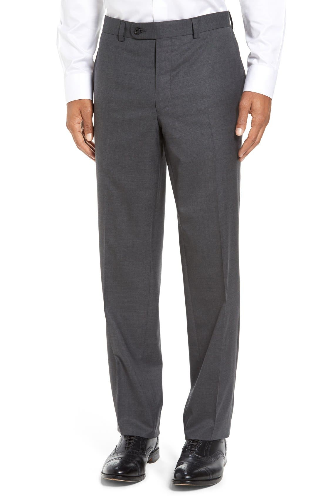 Ryan Regular Fit Wool Trousers,                         Main,                         color, CHARCOAL