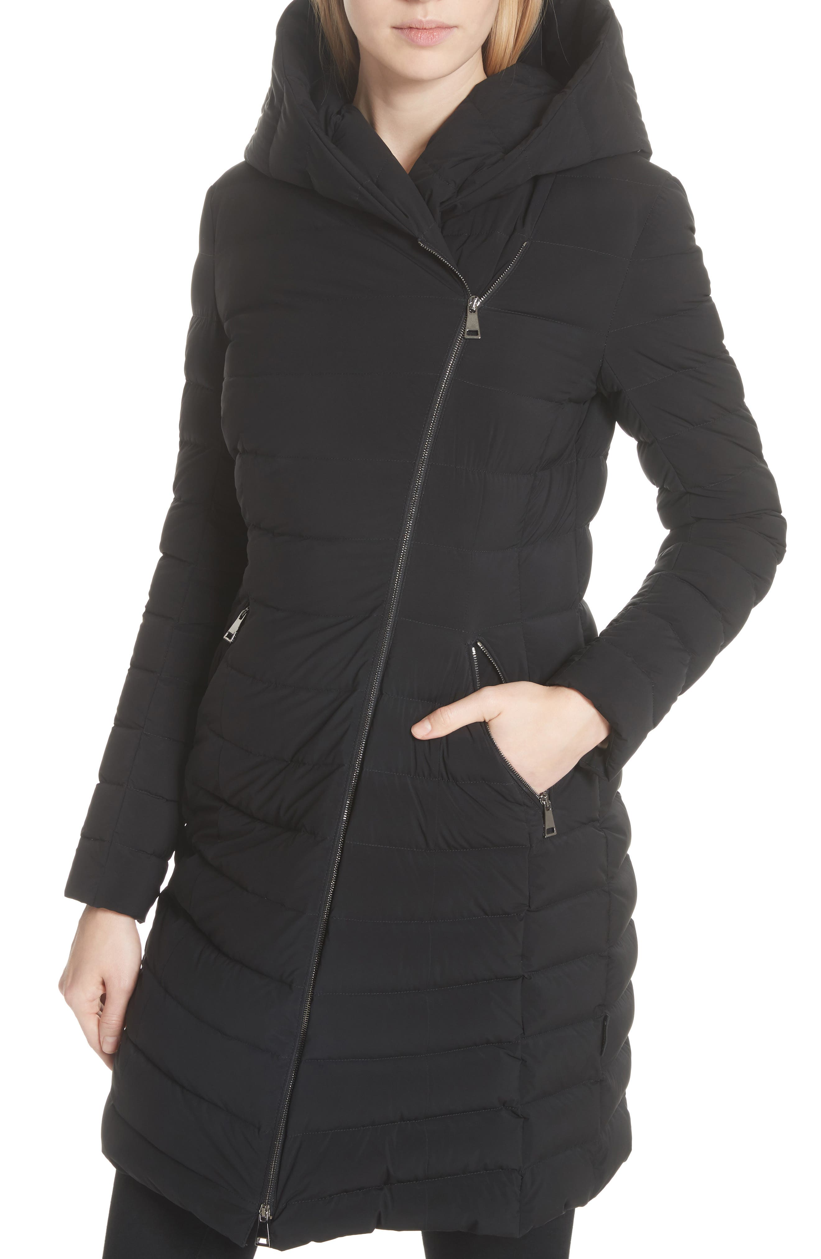 Barge Quilted Down Coat,                             Alternate thumbnail 4, color,                             BLACK