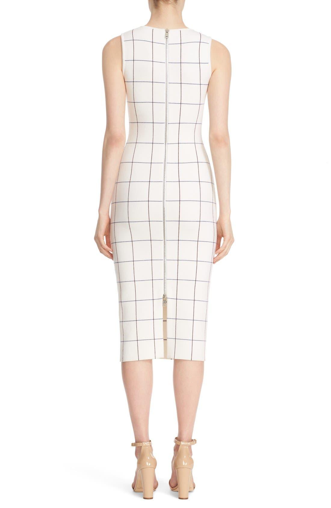 Victoria Beckham Intarsia Check Sheath Dress,                             Alternate thumbnail 2, color,                             100
