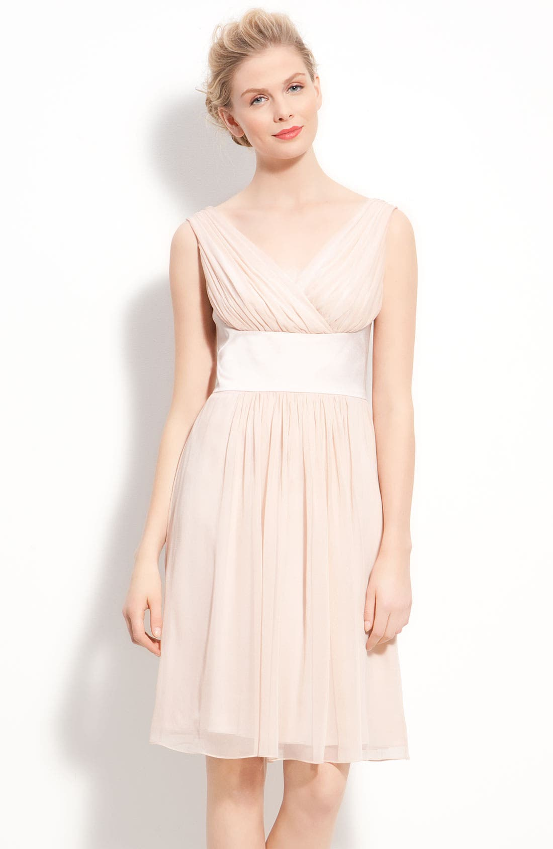 Satin & Pleated Chiffon Dress,                         Main,                         color,
