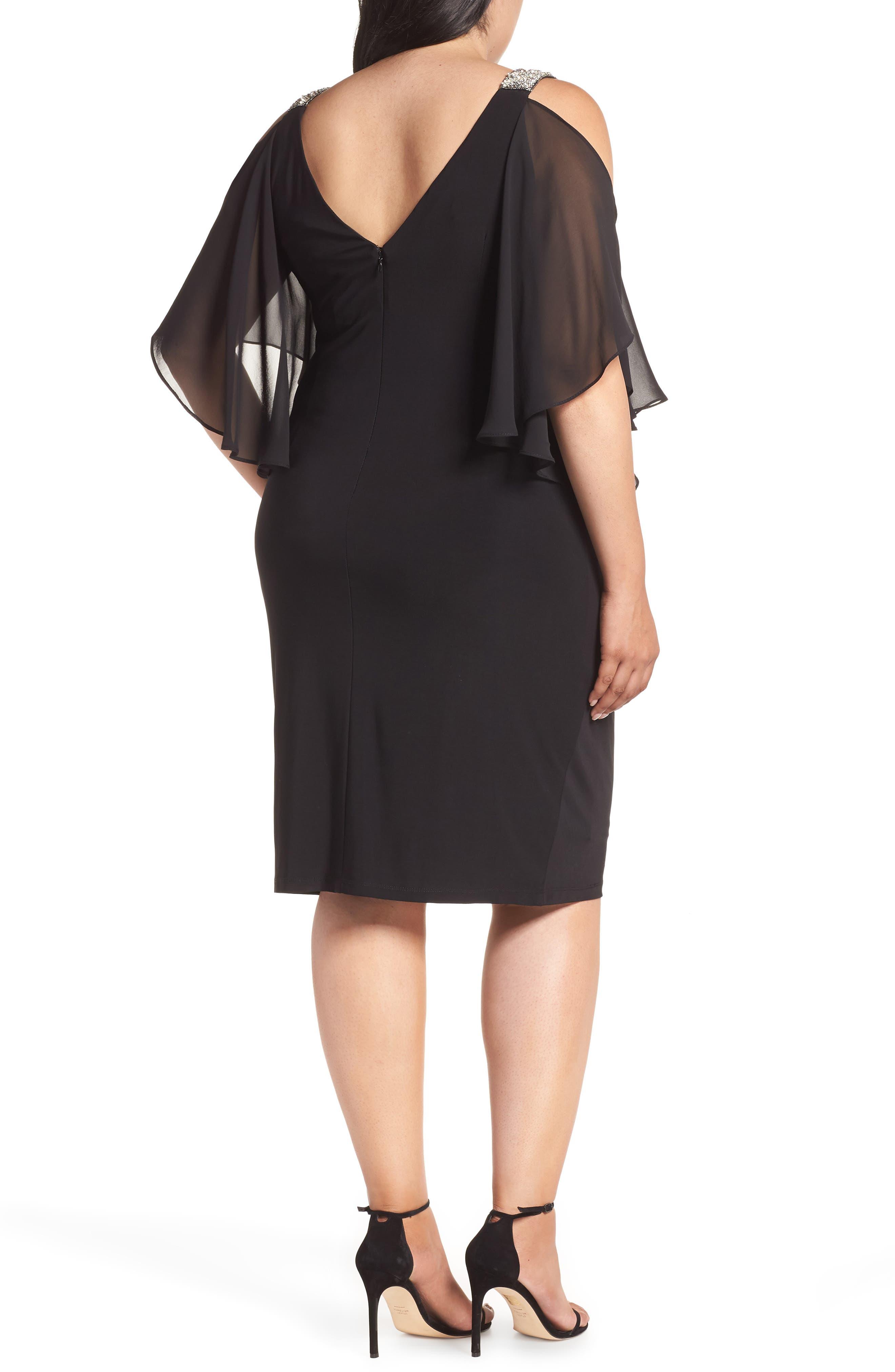 Cold Shoulder Sparkle Dress,                             Alternate thumbnail 2, color,                             BLACK/ SILVER