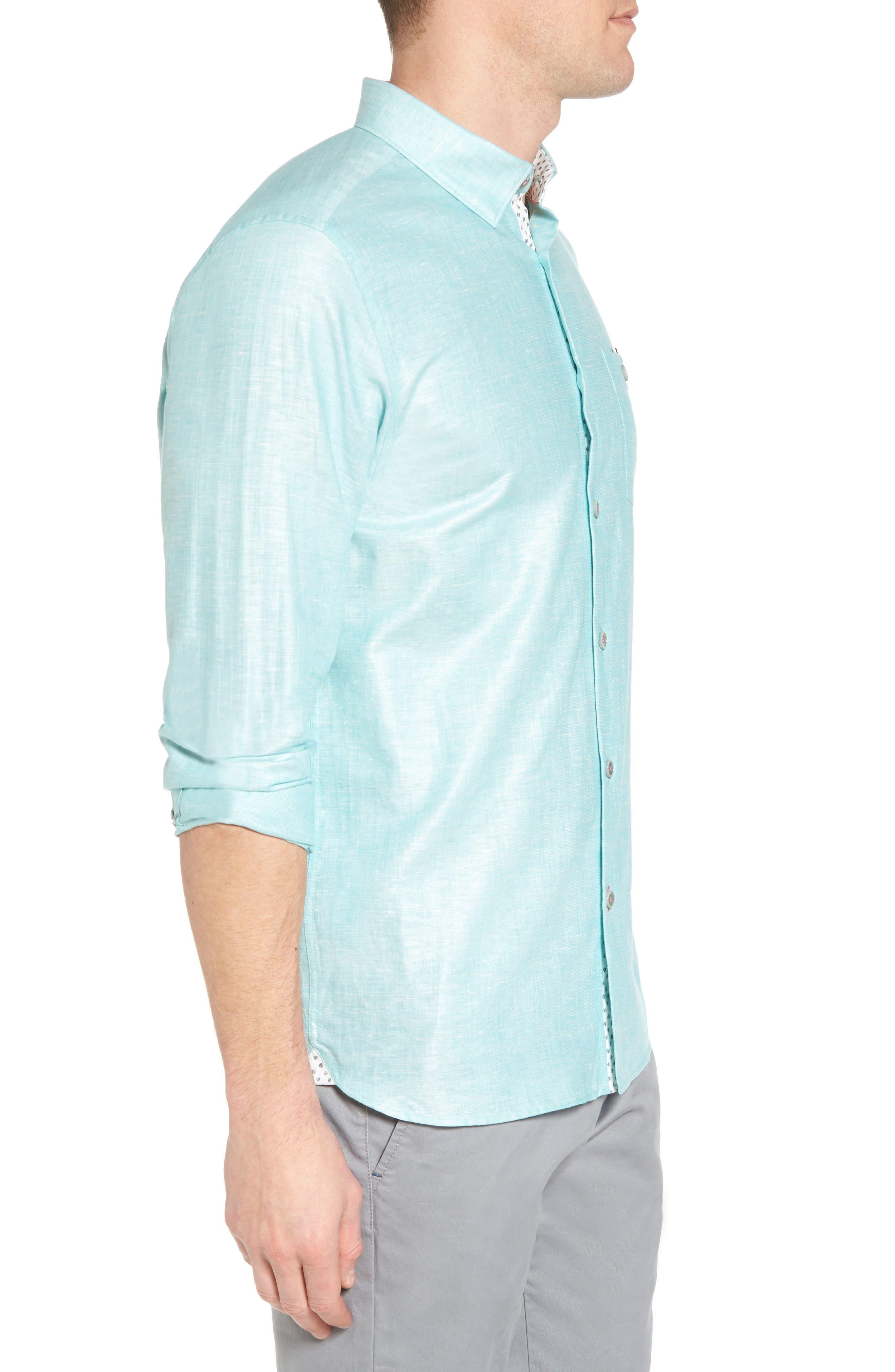 Linlins Herringbone Cotton & Linen Sport Shirt,                             Alternate thumbnail 12, color,