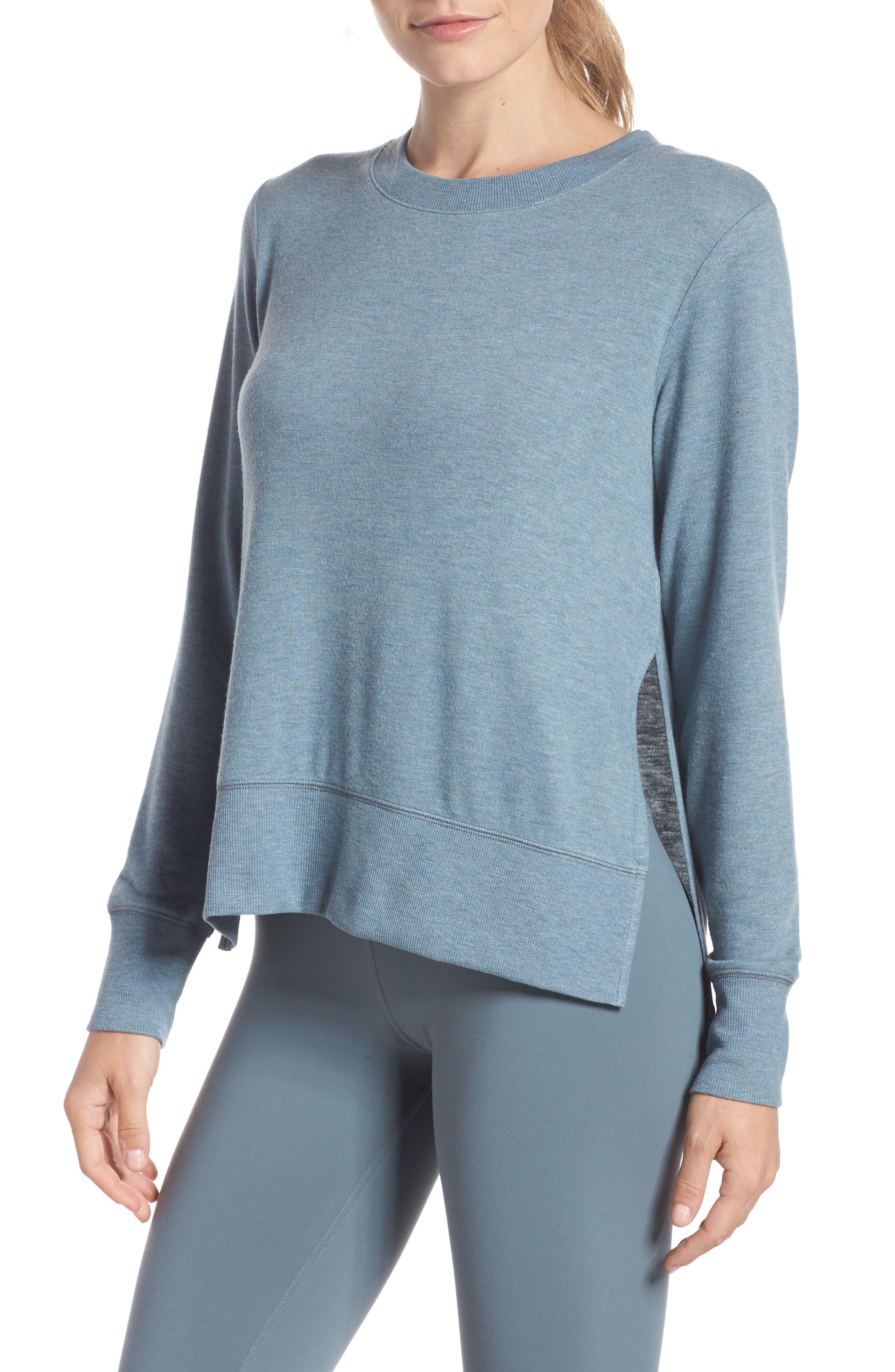 'Glimpse' Long Sleeve Top,                         Main,                         color, CONCRETE HEATHER