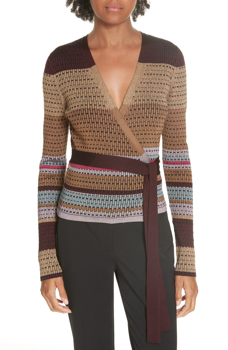 DVF Metallic Stripe Wrap Sweater | Nordstrom