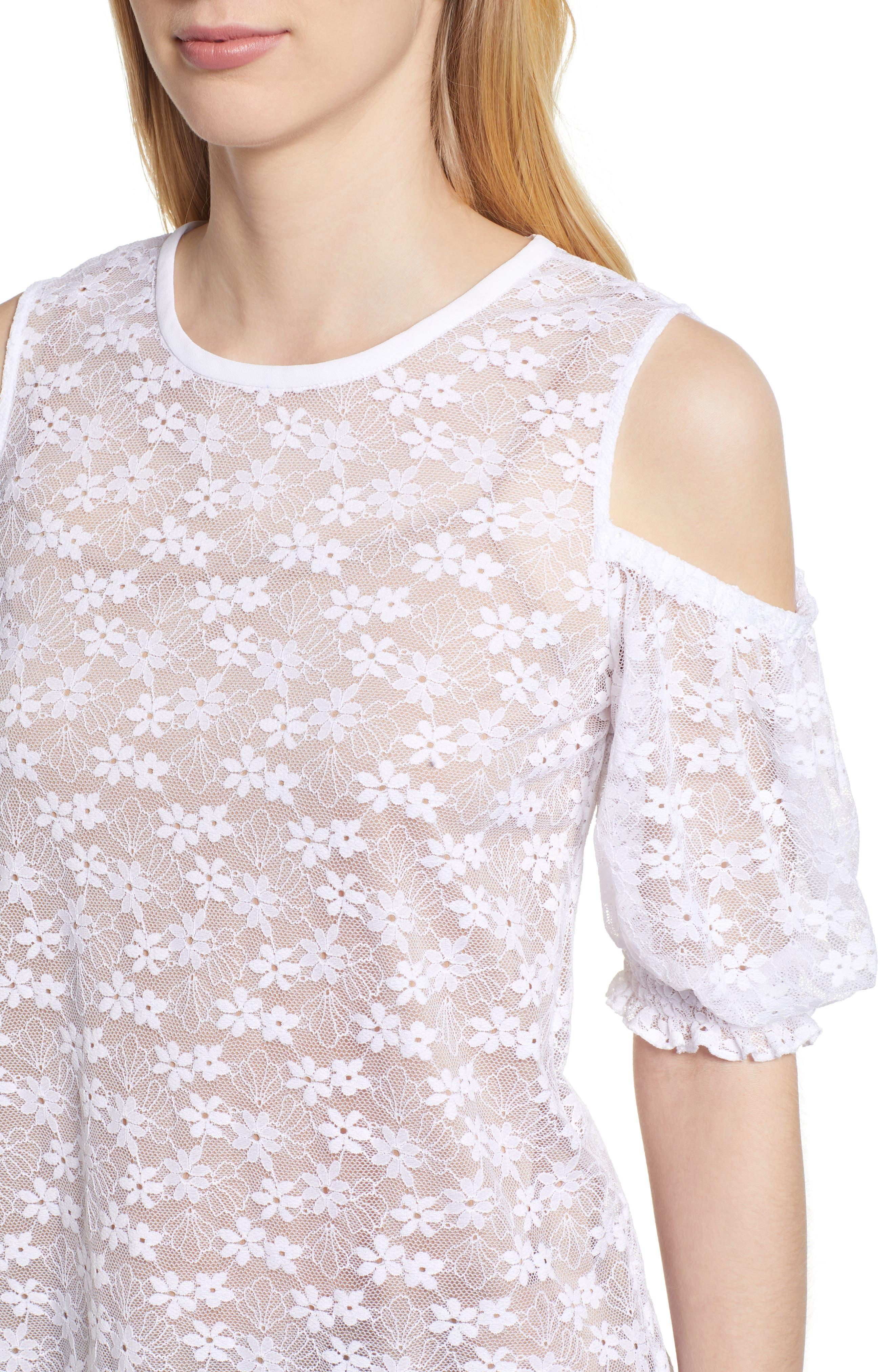 Cold Shoulder Lace Top,                             Alternate thumbnail 4, color,                             100