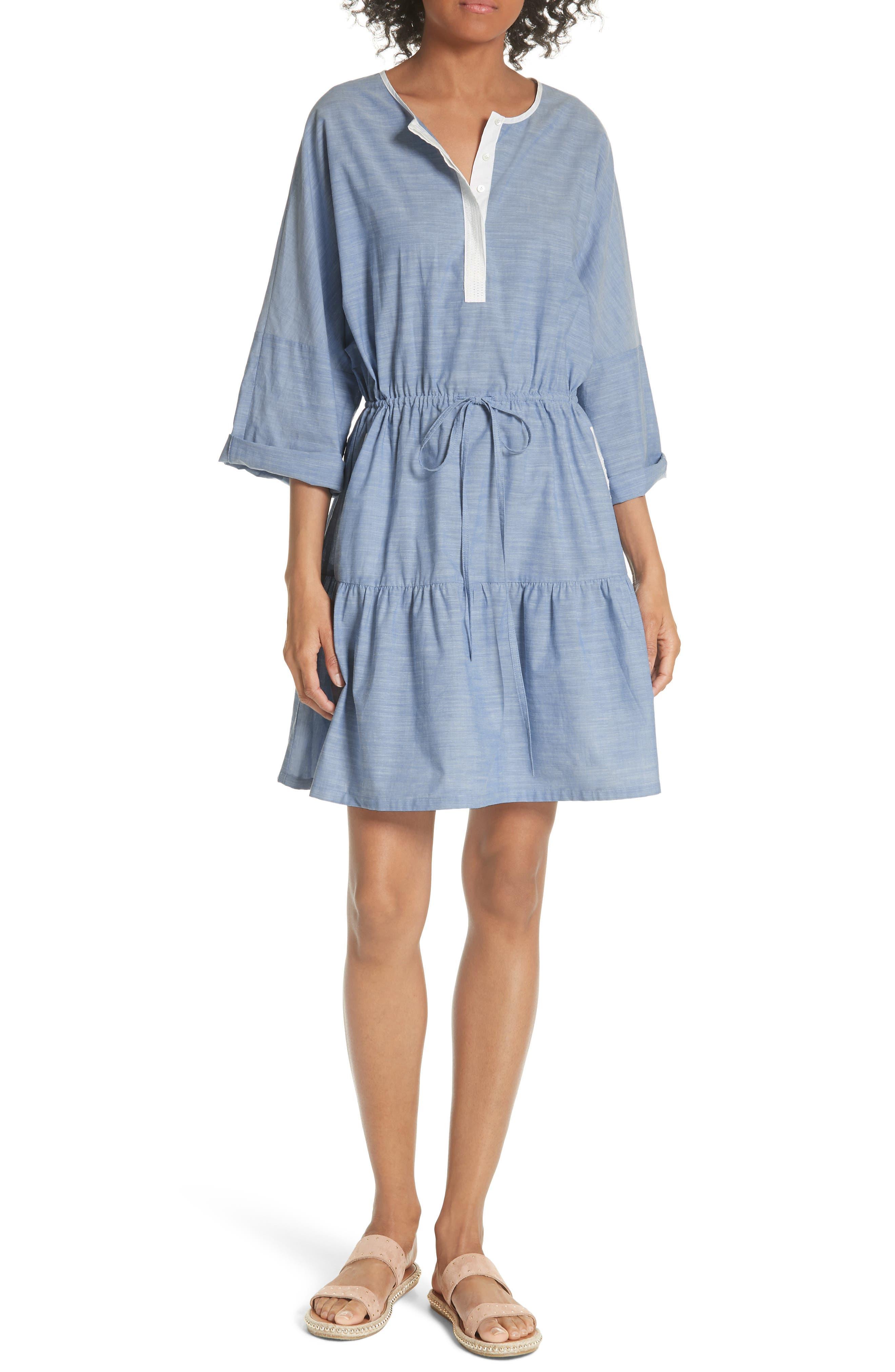 Ecidra Drawstring Waist Chambray Dress,                         Main,                         color, CHAMBRAY PORCELAIN