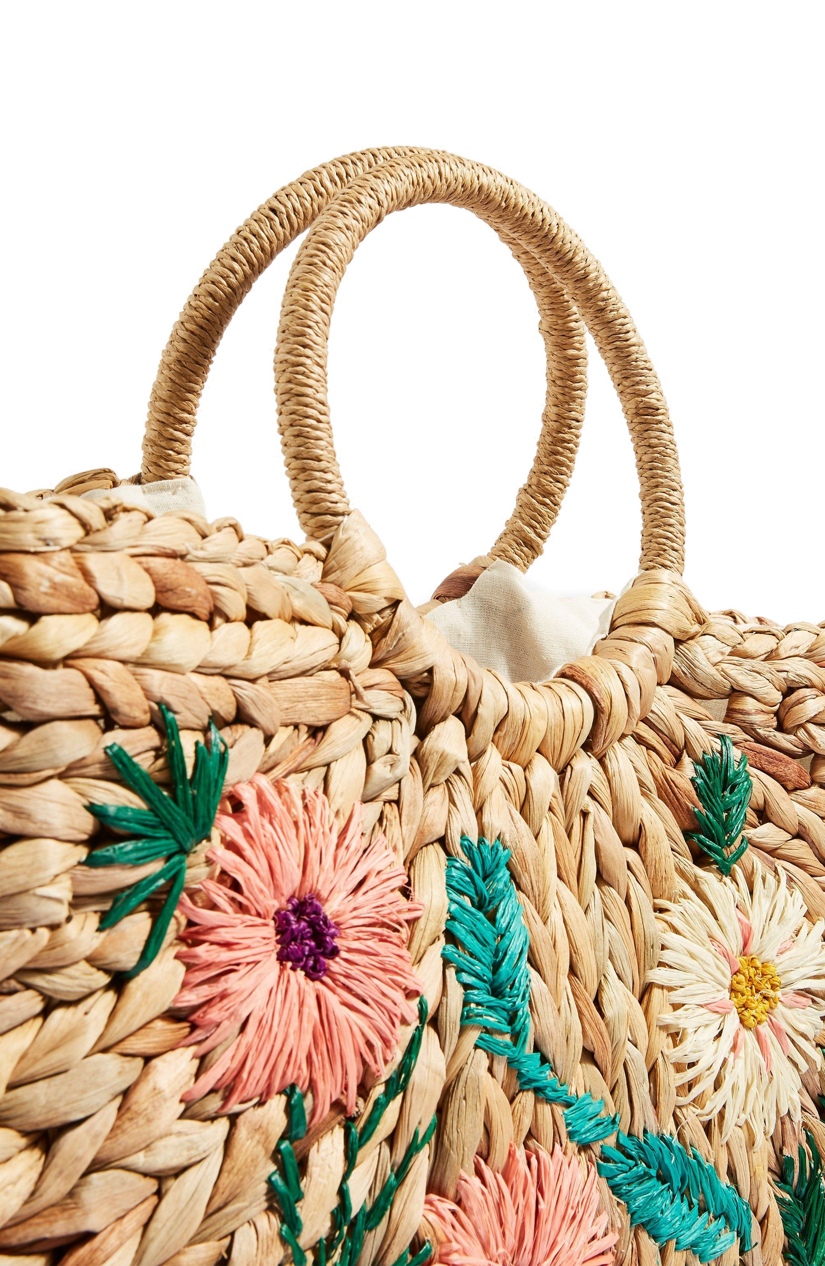 Beverly Floral Embroidered Straw Tote Bag,                             Alternate thumbnail 4, color,                             250