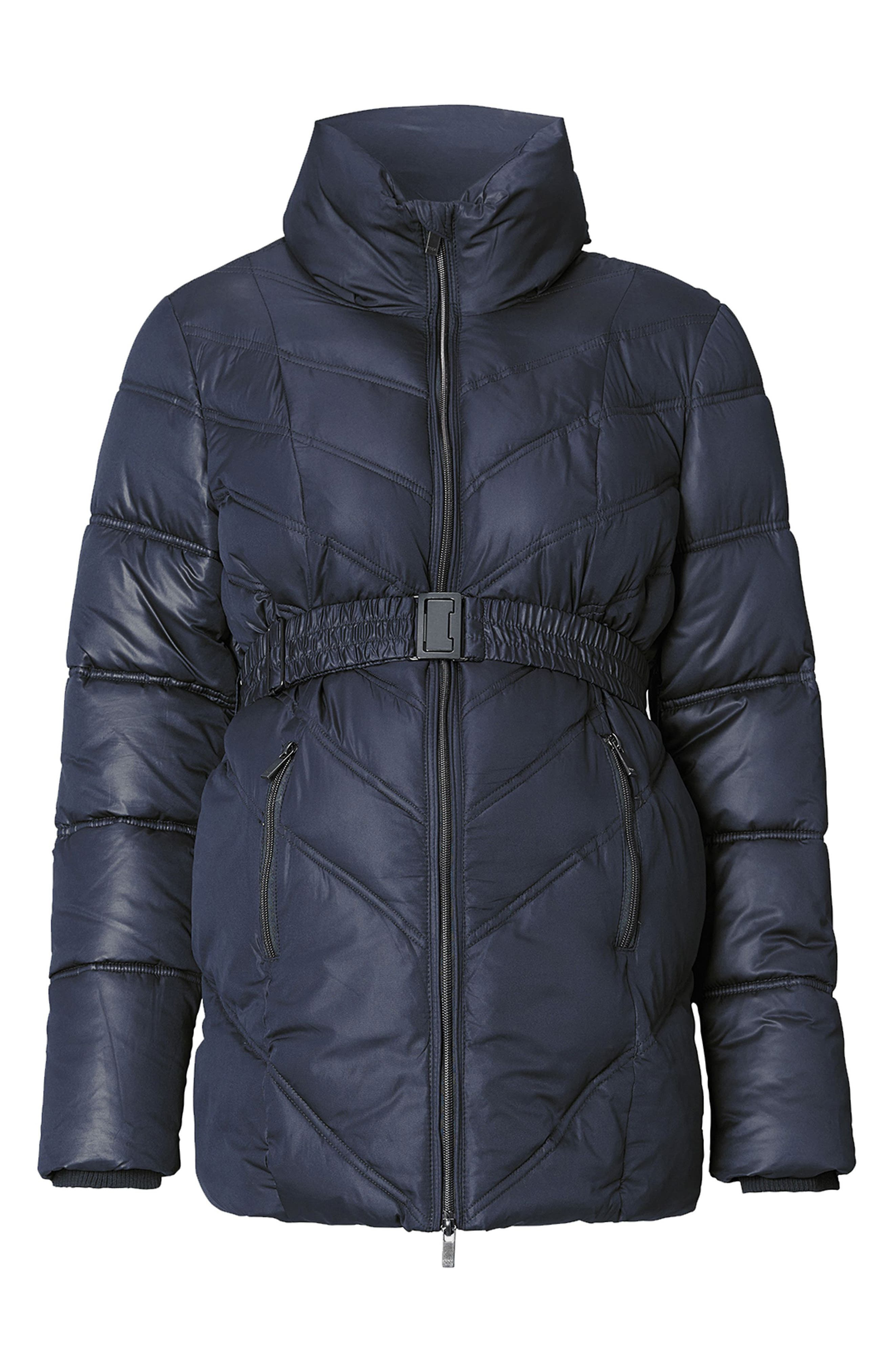 Lene Quilted Maternity Jacket,                             Main thumbnail 1, color,                             DARK BLUE