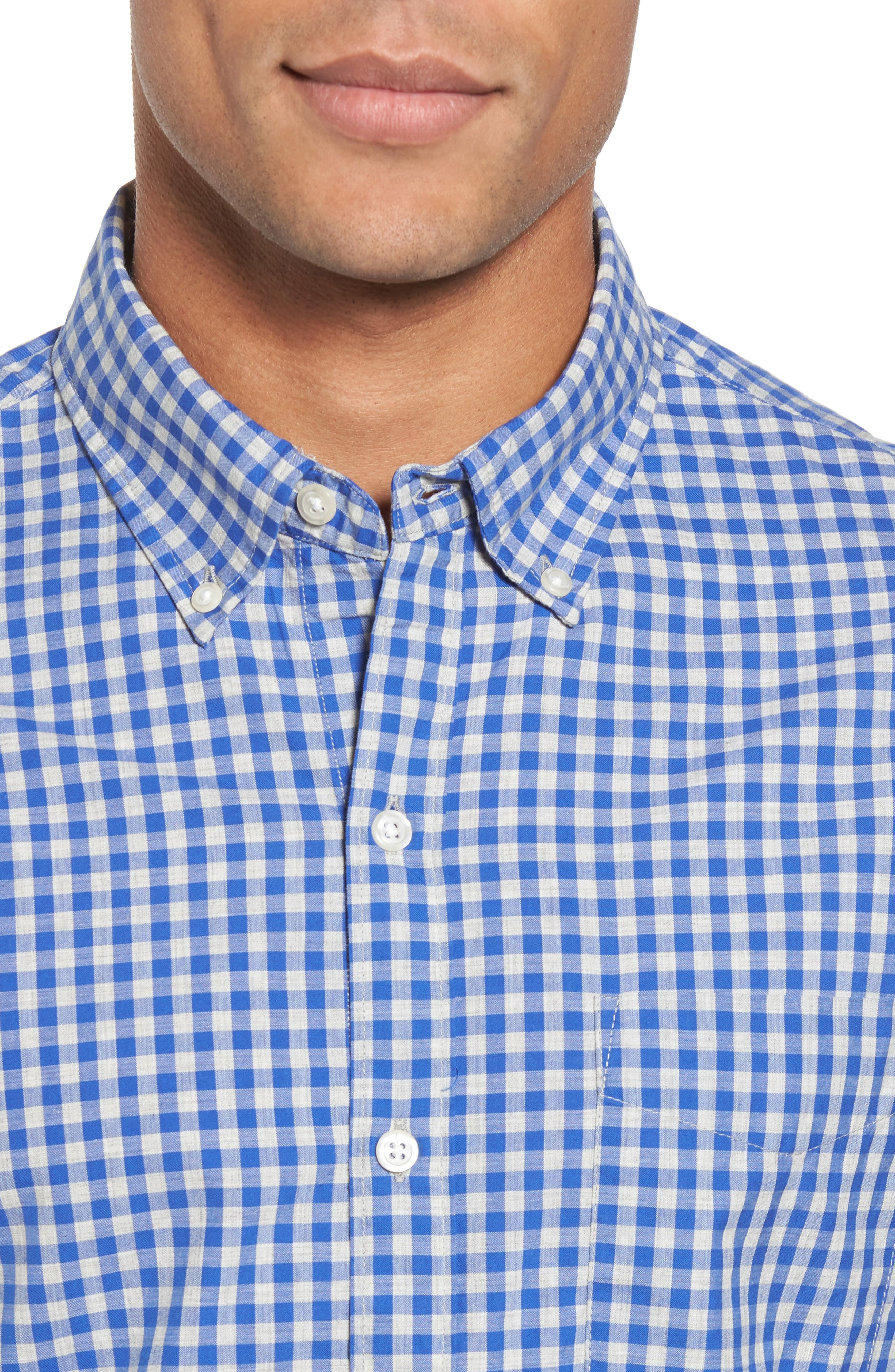 Slim Fit Washed Check Sport Shirt,                             Alternate thumbnail 4, color,