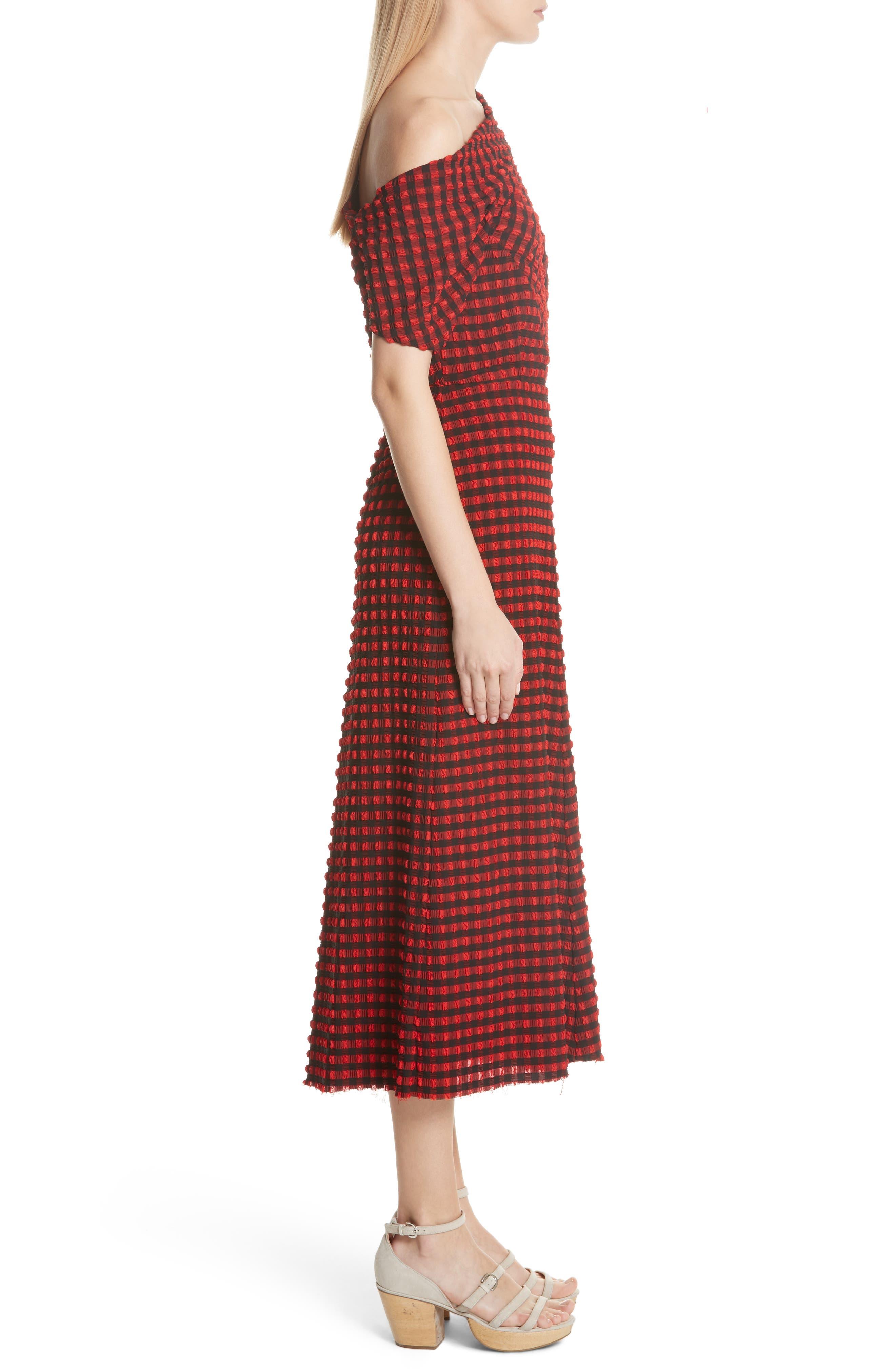 Pout Gingham One-Shoulder Midi Dress,                             Alternate thumbnail 3, color,                             640