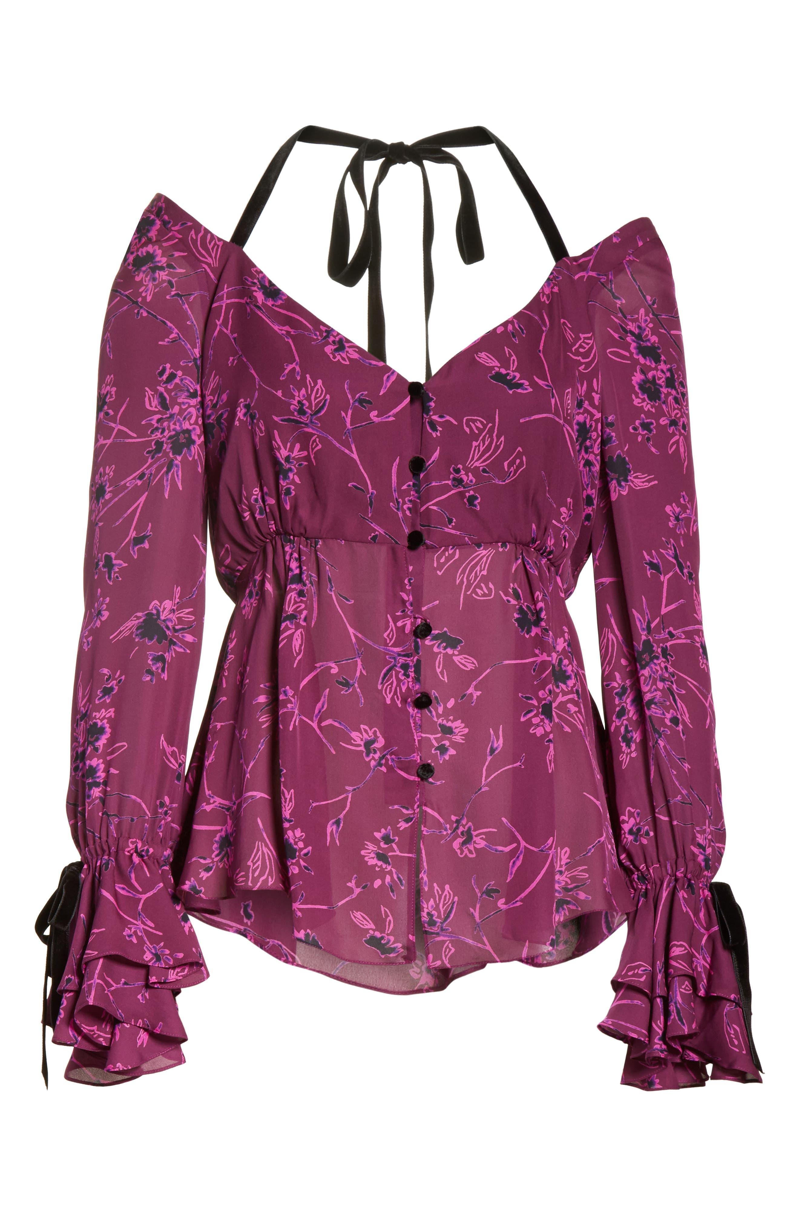 Mabel Floral Print Silk Top,                             Alternate thumbnail 6, color,