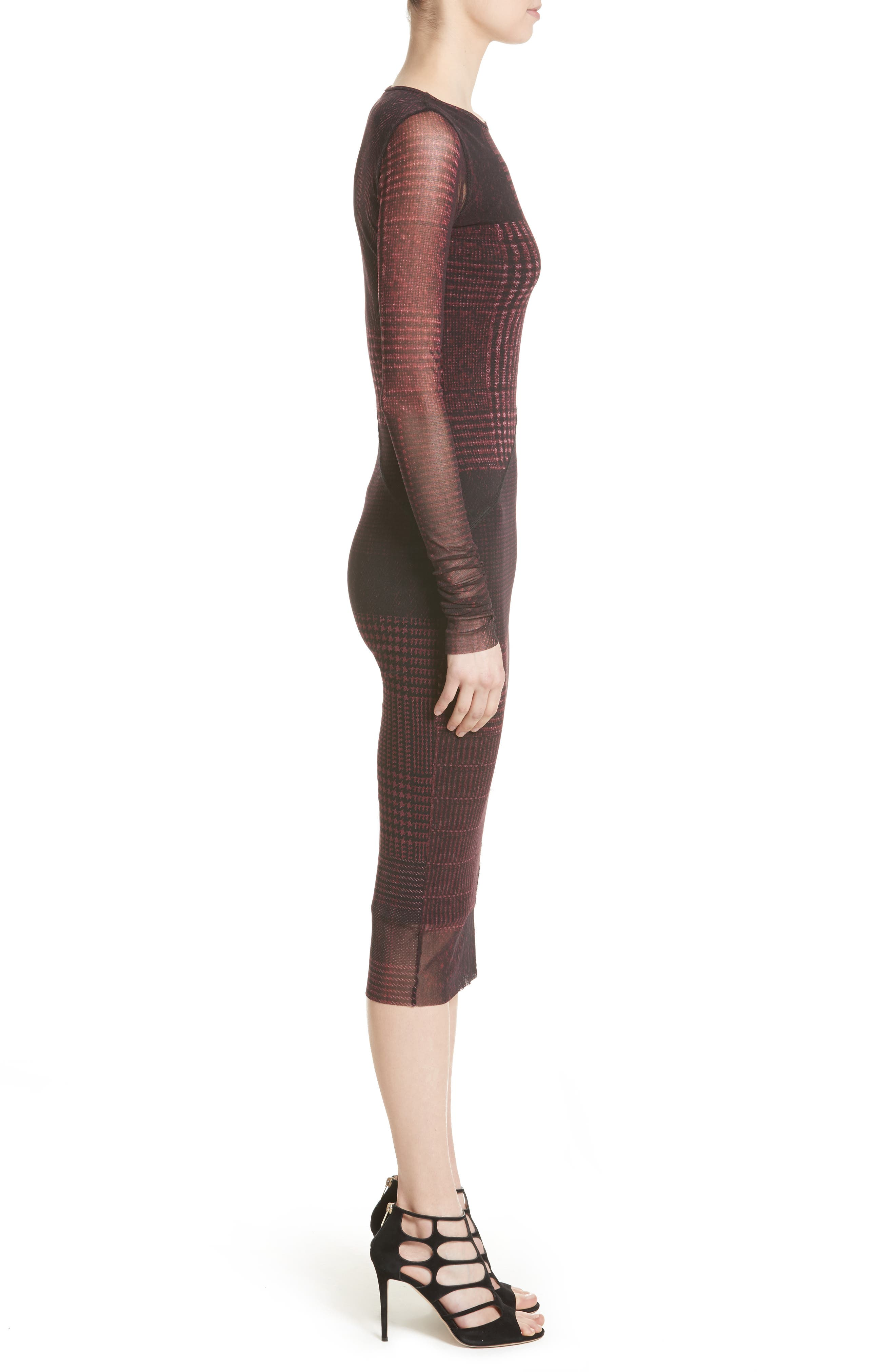 Long Sleeve Tulle Midi Dress,                             Alternate thumbnail 3, color,                             930