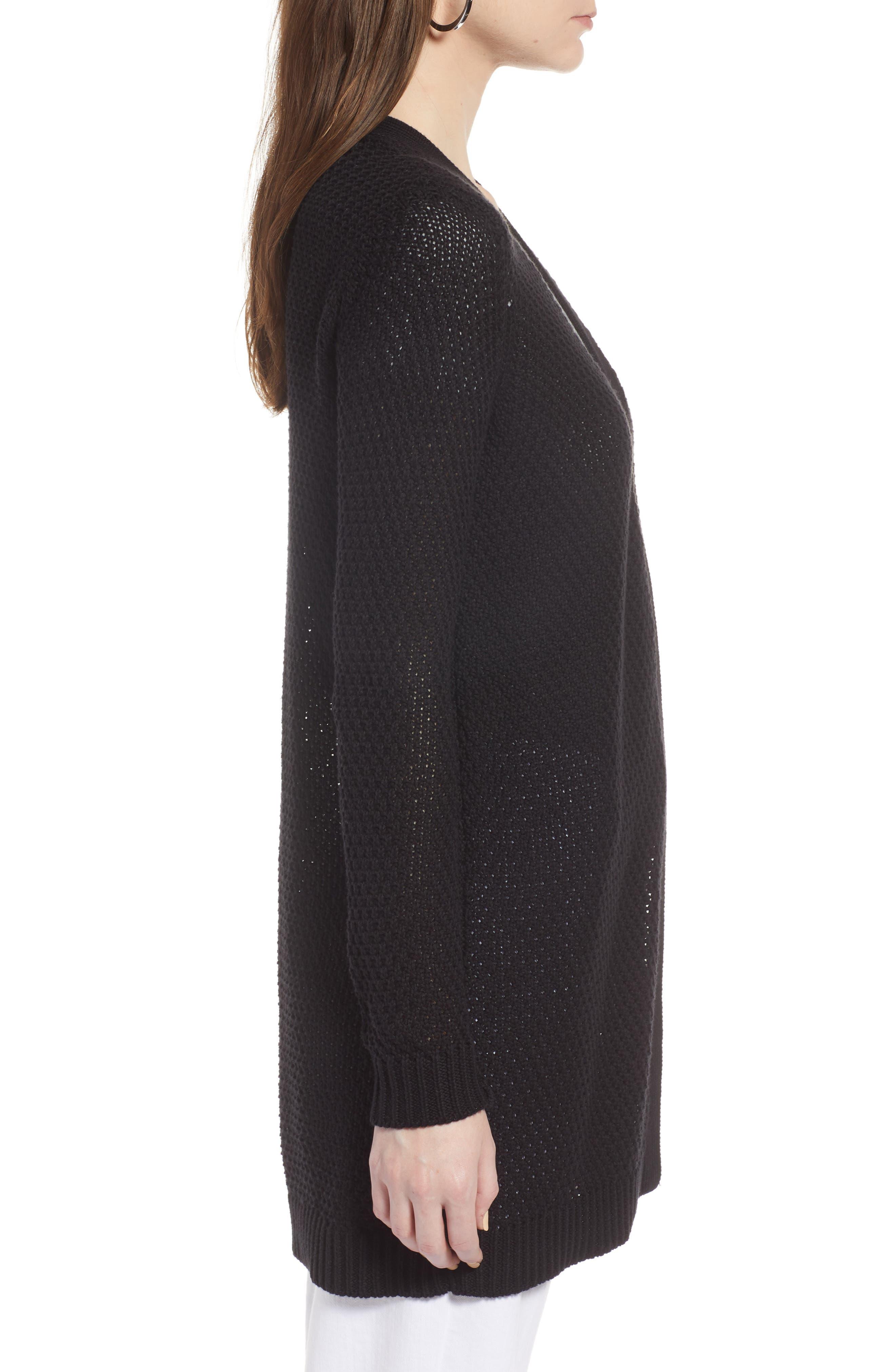Textured Cotton Knit Cardigan,                             Alternate thumbnail 3, color,                             BLACK