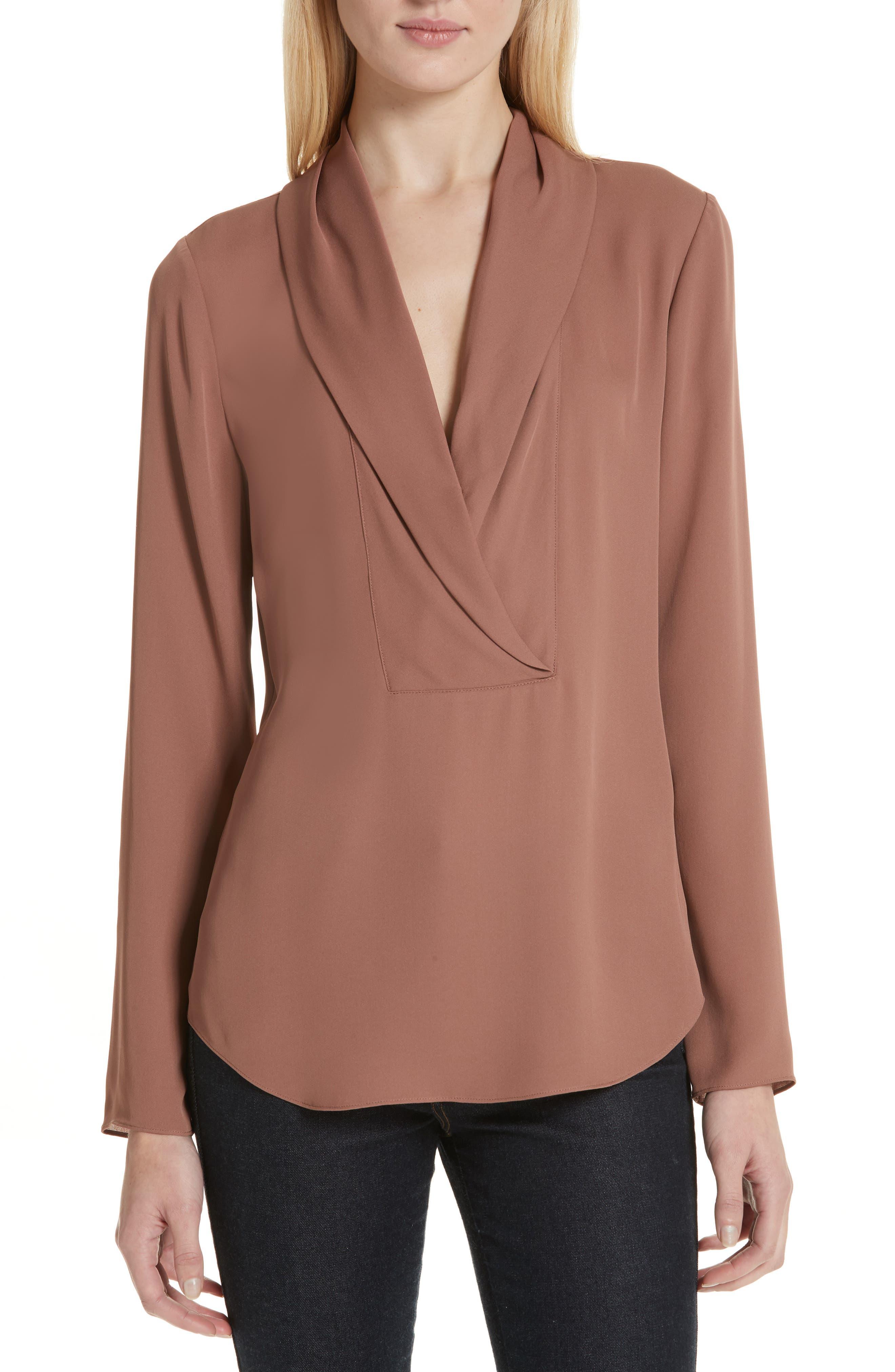 Shawl Collar Silk Blouse,                             Main thumbnail 1, color,                             600