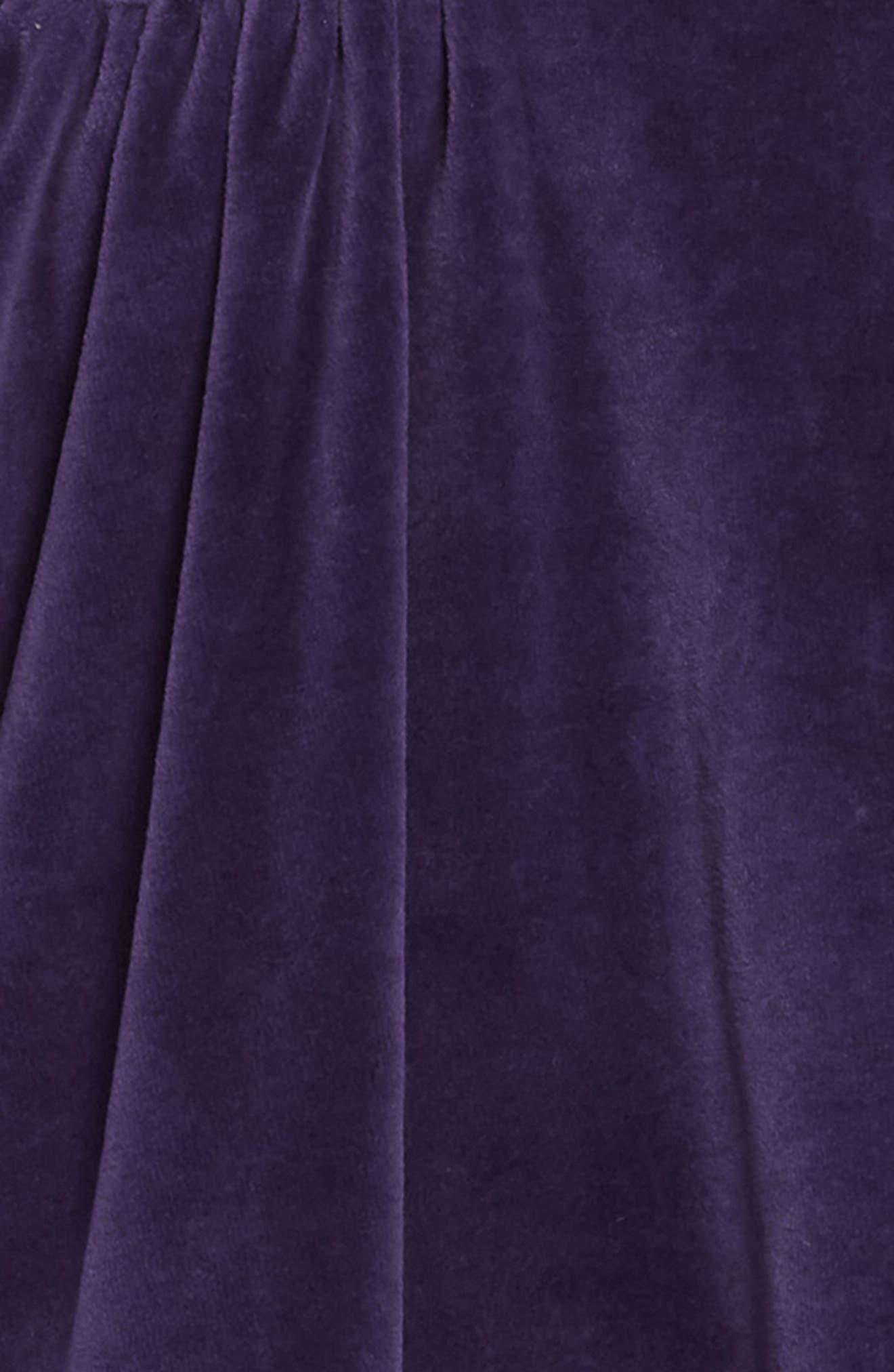 Festive Velour Dress,                             Alternate thumbnail 3, color,                             BLU PRUSSIAN BLUE