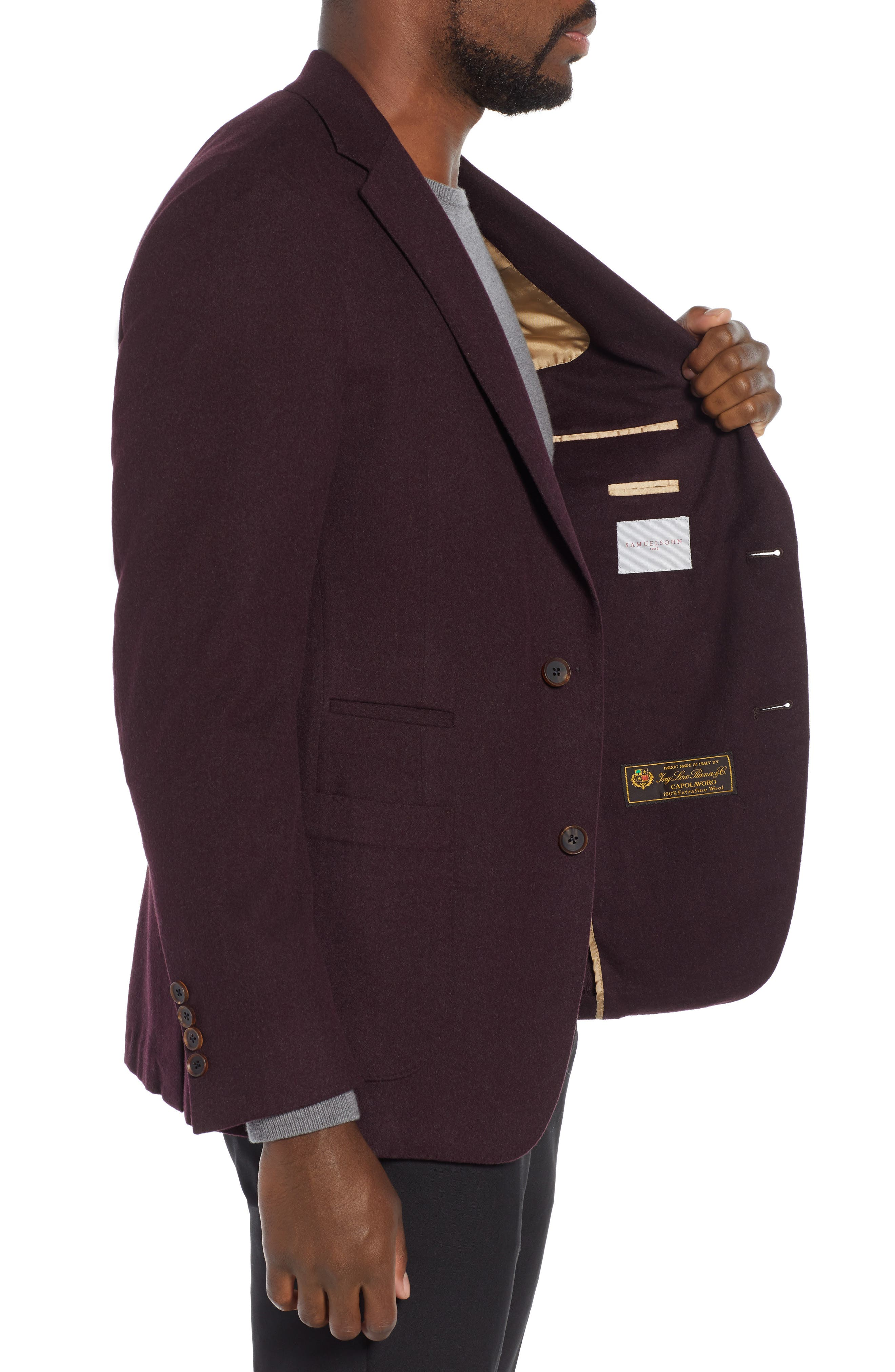 Classic Fit Wool Blazer,                             Alternate thumbnail 3, color,                             BURGUNDY