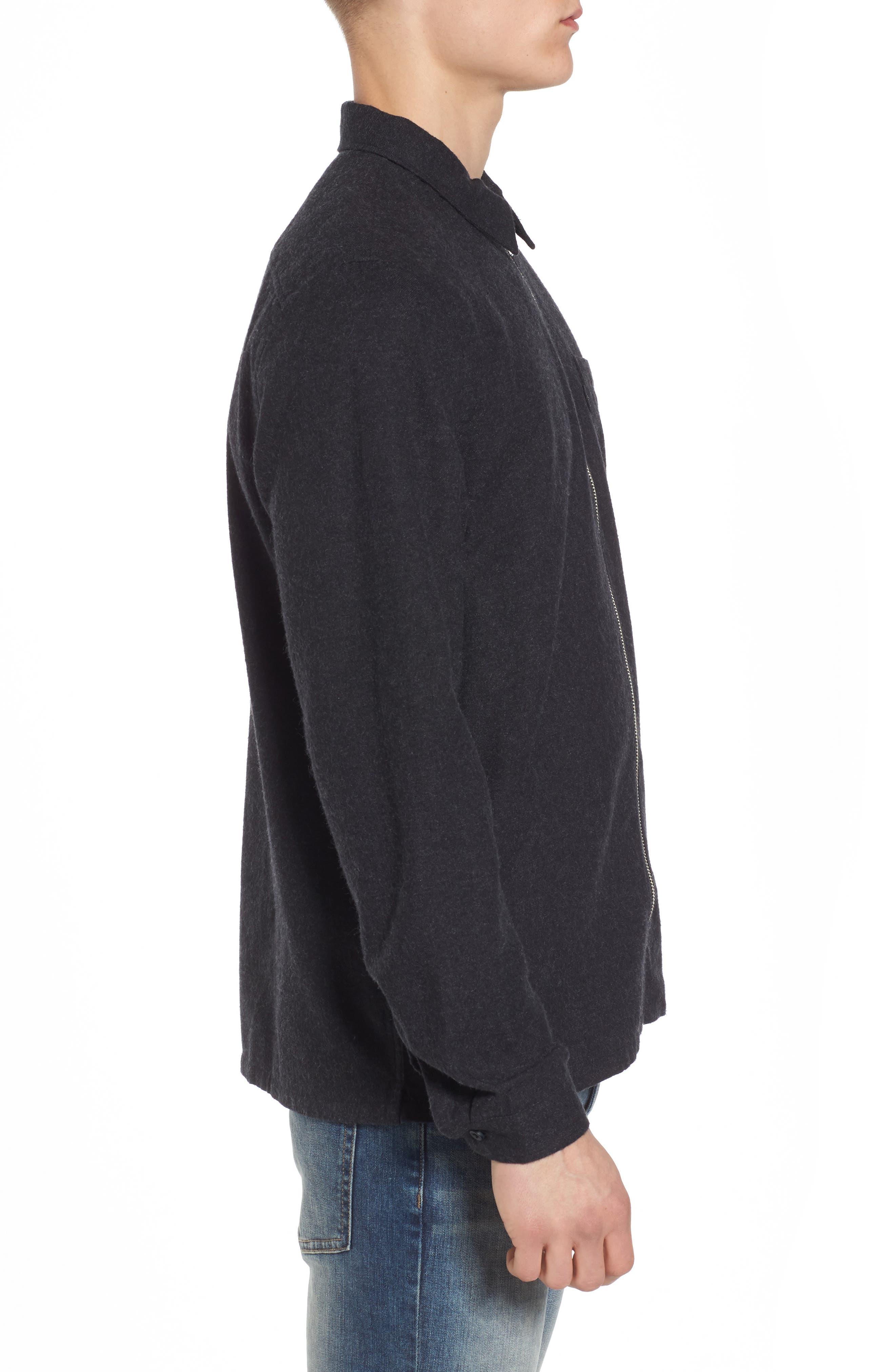 Nicks Flannel Zip Overshirt,                             Alternate thumbnail 3, color,                             001