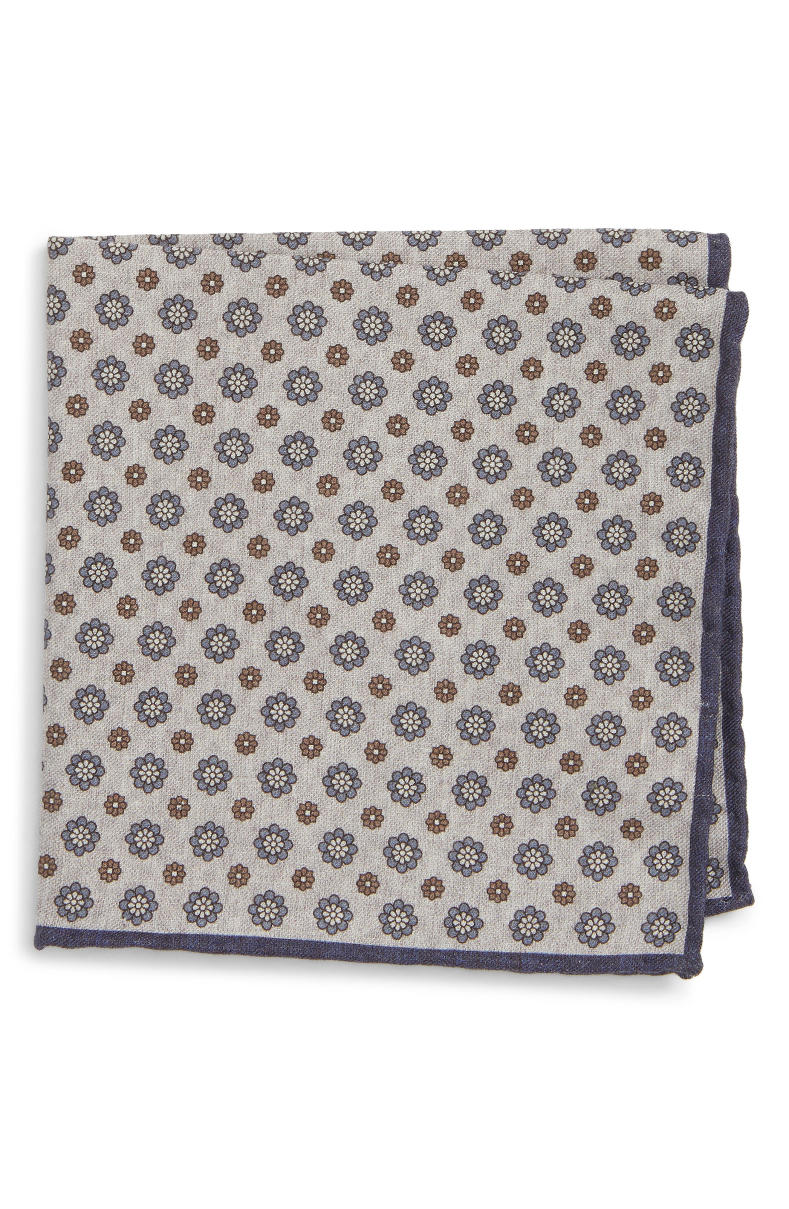 Medallion Wool & Cotton Pocket Square,                         Main,                         color, GREY/ BLUE