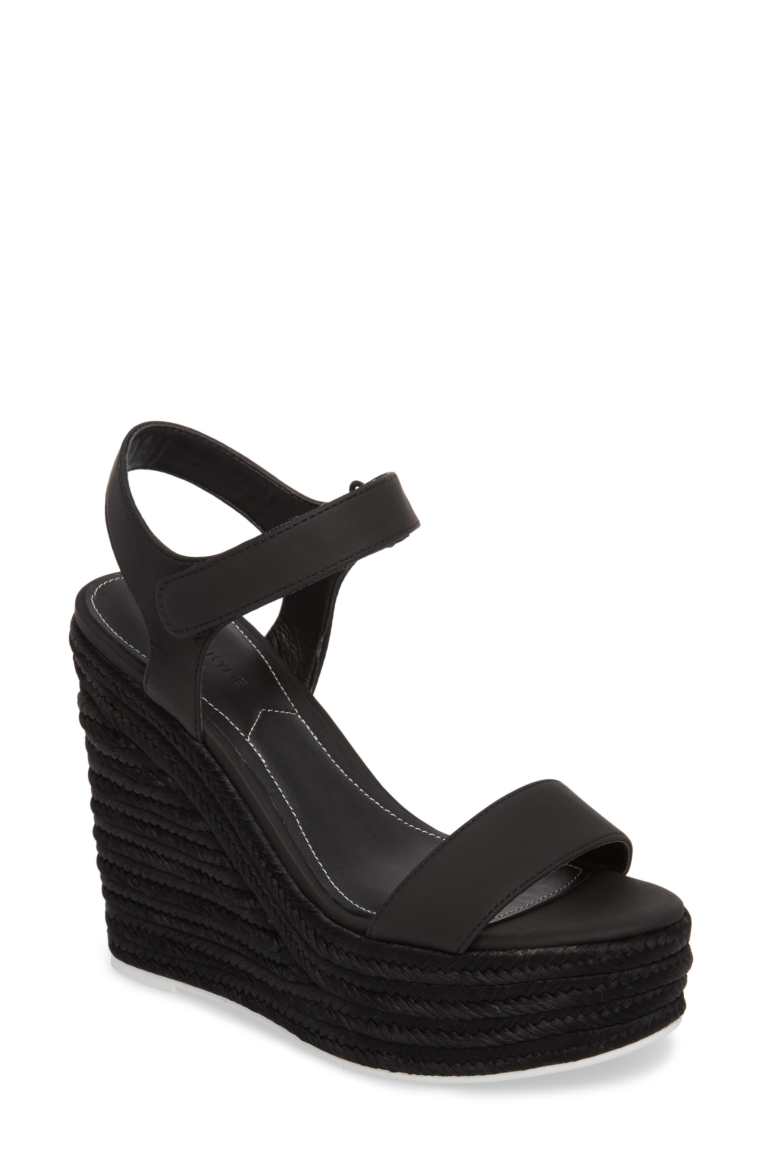 Grand Sport Espadrille Wedge Sandal,                         Main,                         color, BLACK