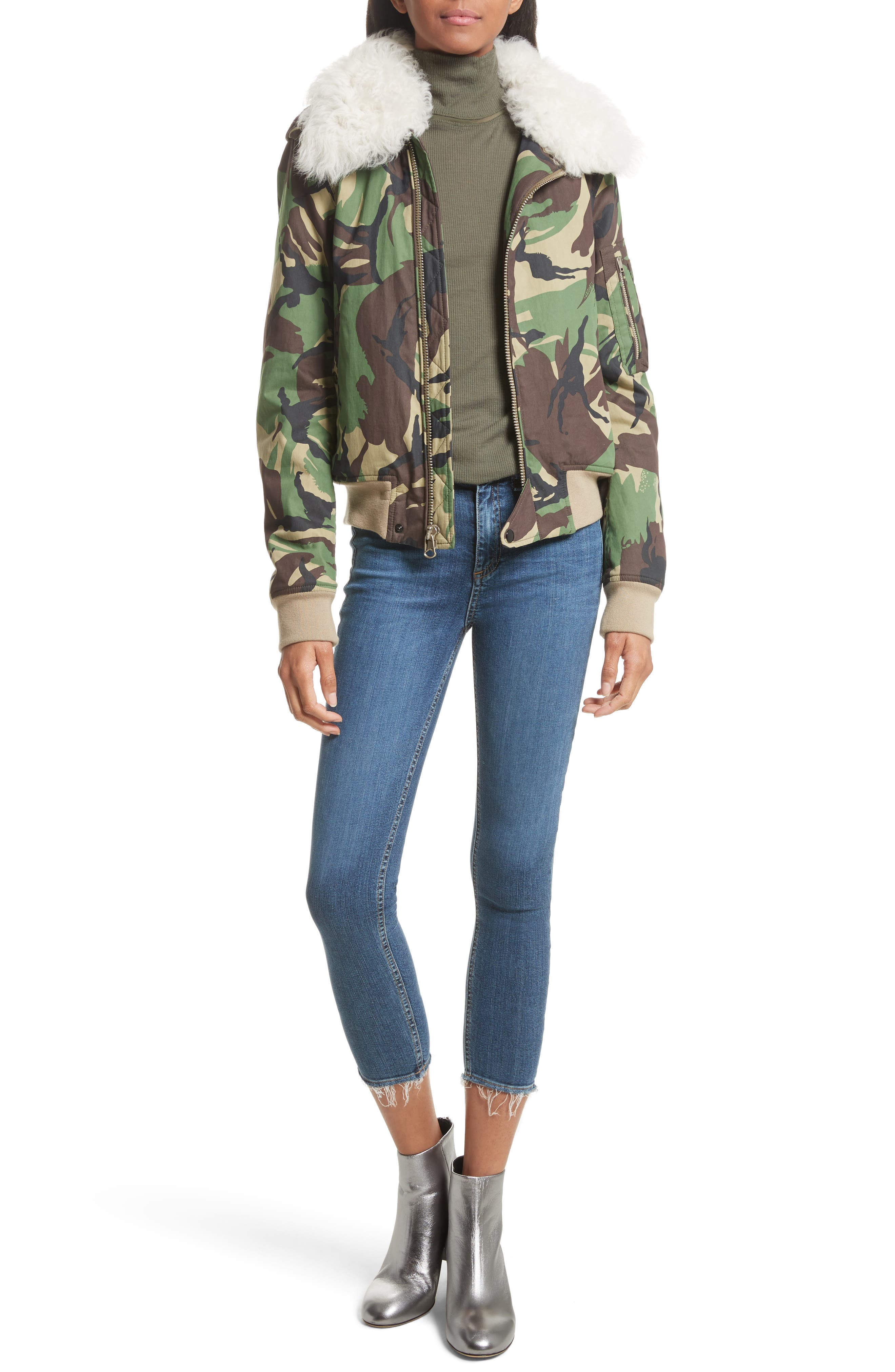 Camo Flight Jacket with Geniune Shearling Collar,                             Alternate thumbnail 6, color,                             300