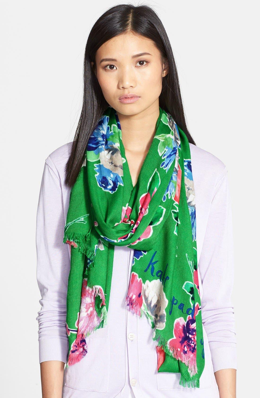 KATE SPADE NEW YORK,                             'spring blooms' scarf,                             Main thumbnail 1, color,                             300