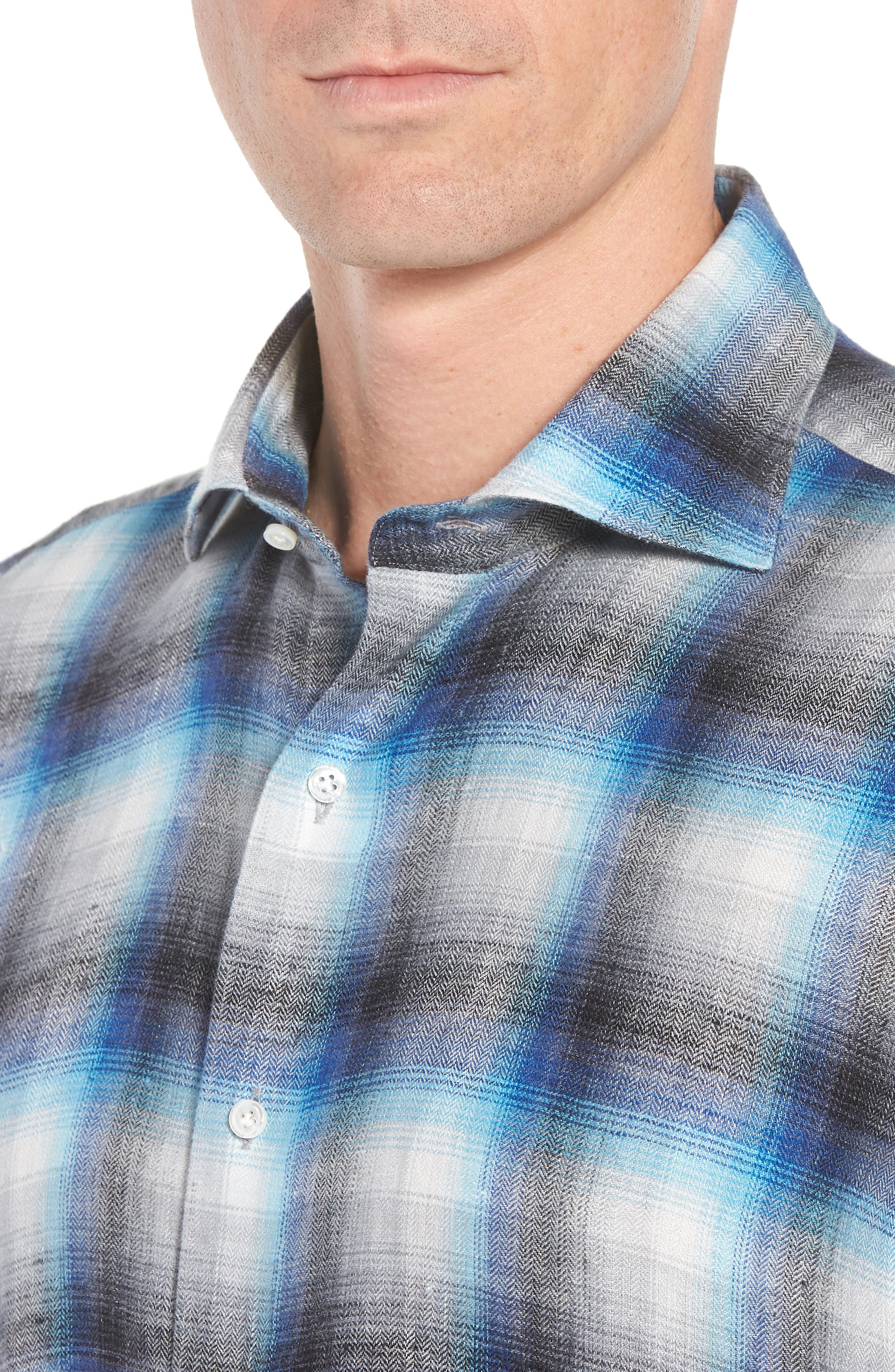 Bisti Regular Fit Plaid Linen Sport Shirt,                             Alternate thumbnail 4, color,                             BARCHETTA