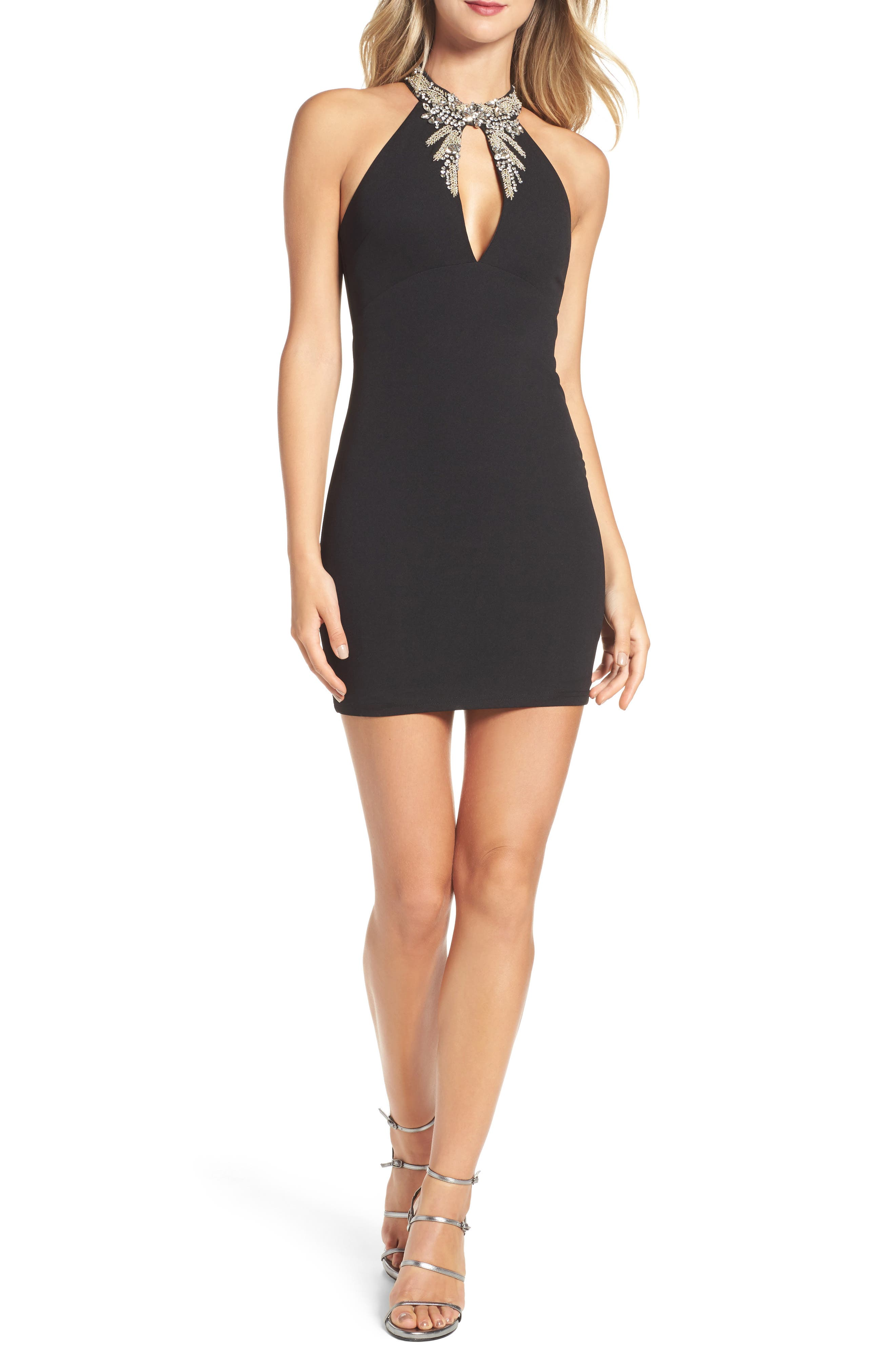 Alluring Evening Beaded Body-Con Dress,                             Main thumbnail 1, color,